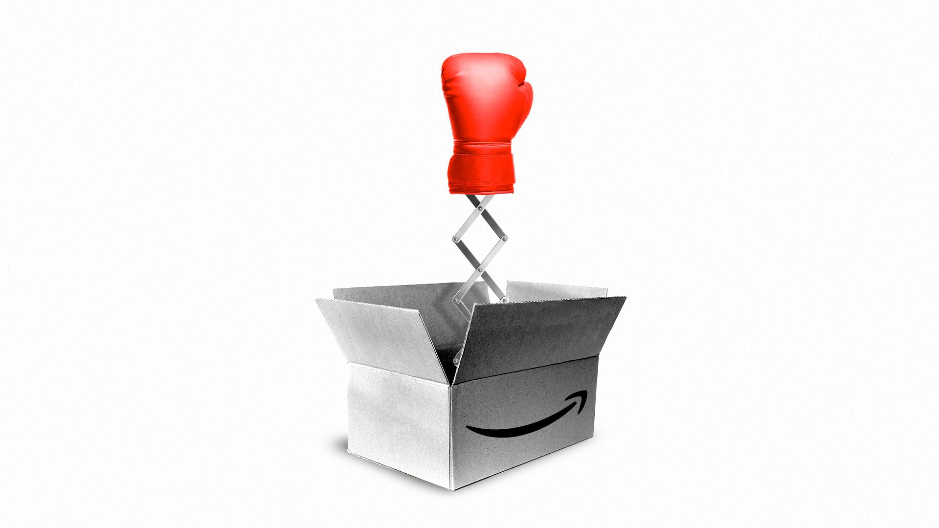 Illustration of an Amazon box with a boxing glove bursting out on a spring.