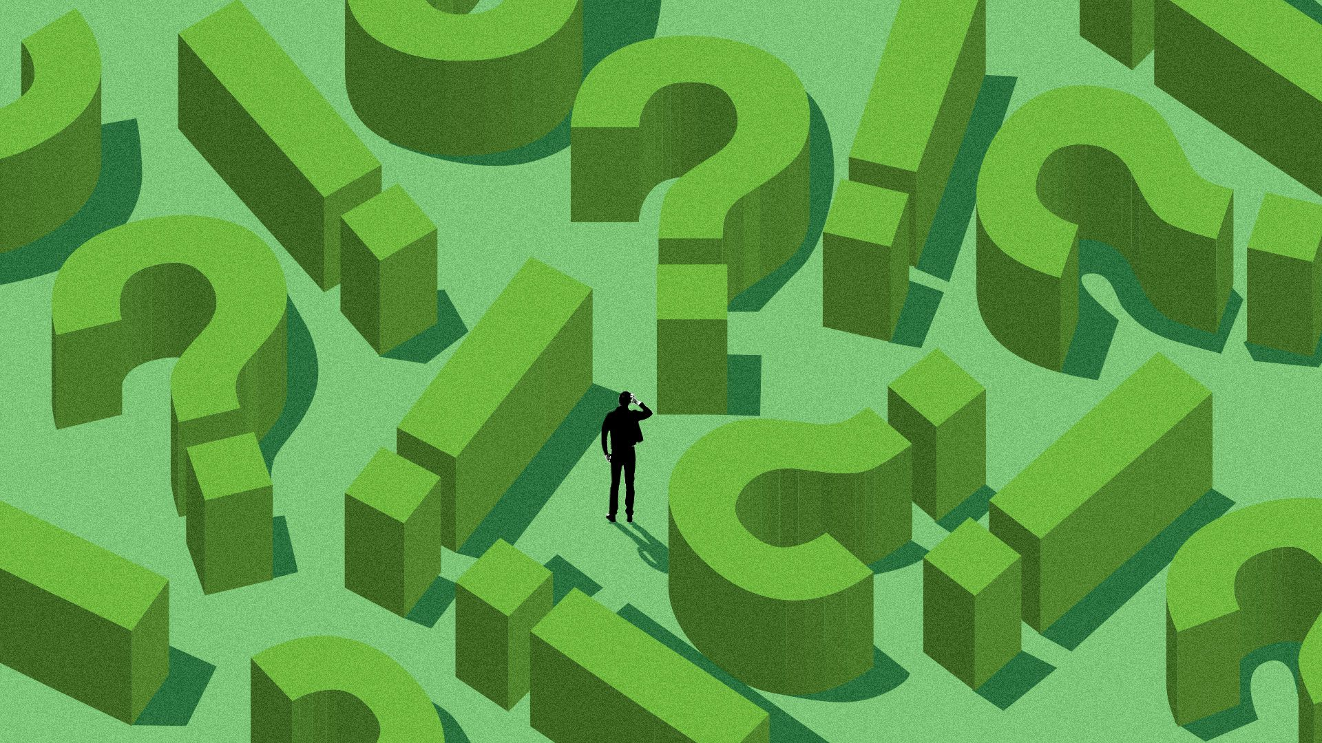 Illustration of a man in a hedge maze made up of question marks and exclamation marks.
