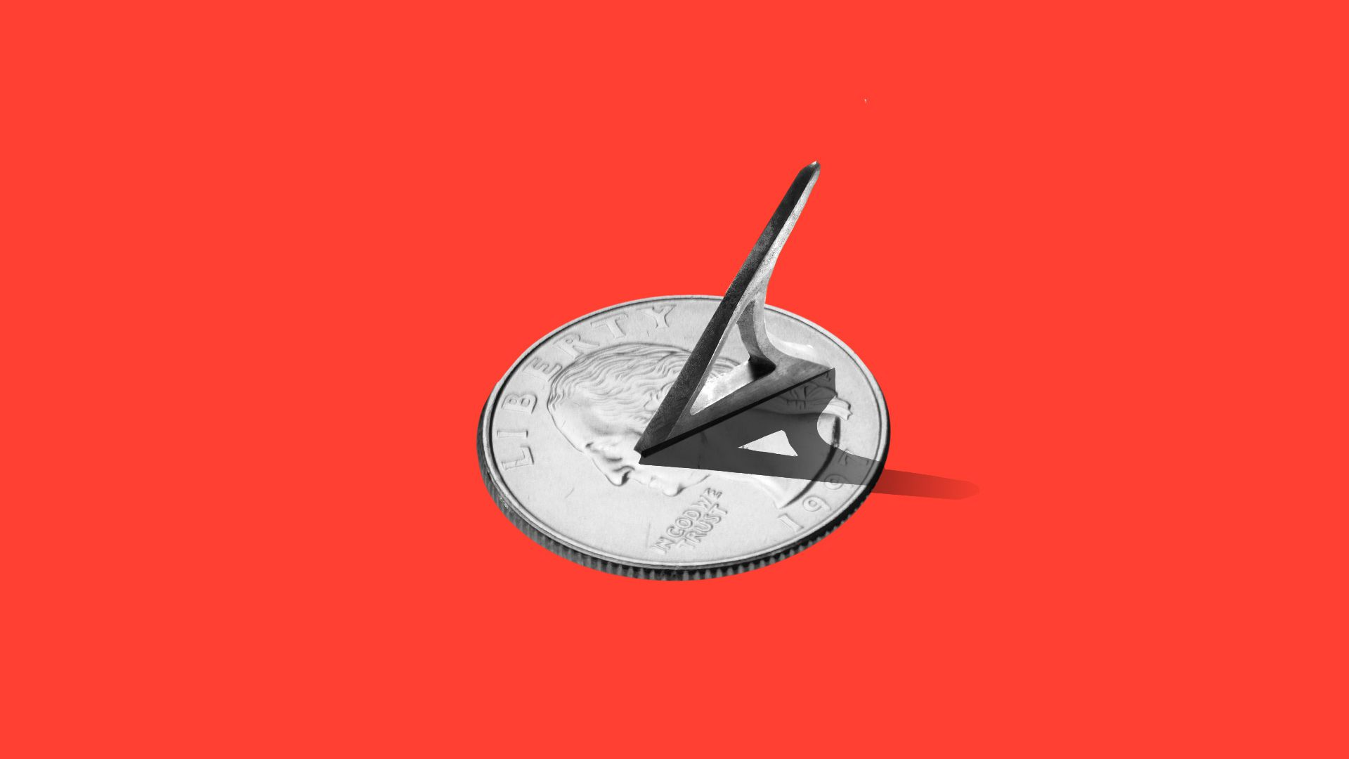 Illustration of a sundial with a quarter as the base.