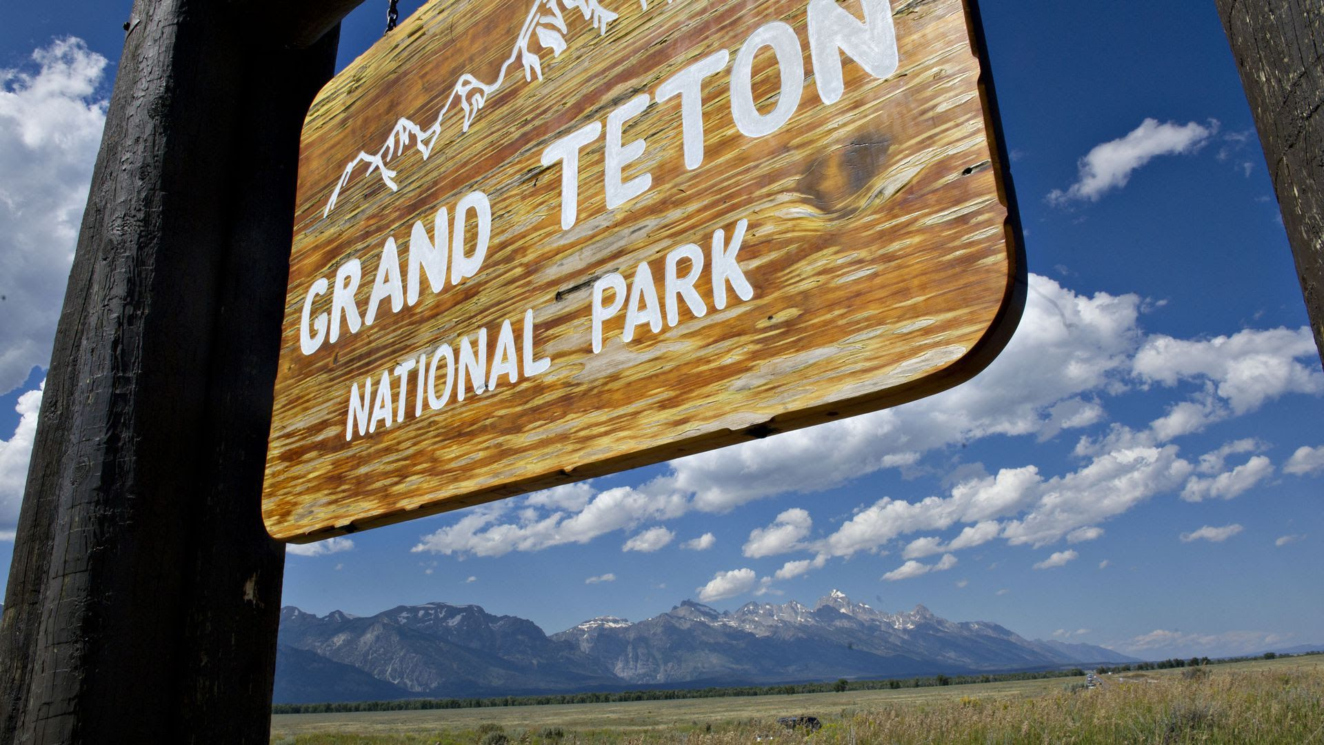 Welcoming sign out front of Grand Teton National Park