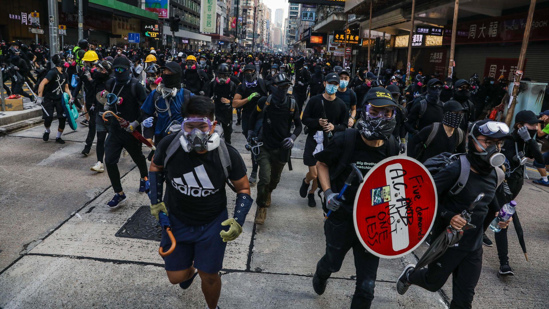 Pro-democracy protestors in Hong Kong.