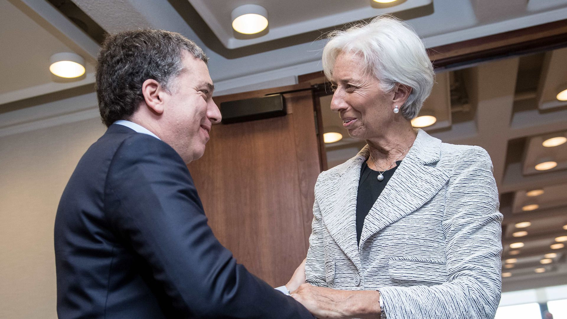 IMF Managing Director Christine Lagarde and Argentinian Economy Minister Nicolas Dujovne. Photo: Nicholas Kamm/AFP/Getty Images