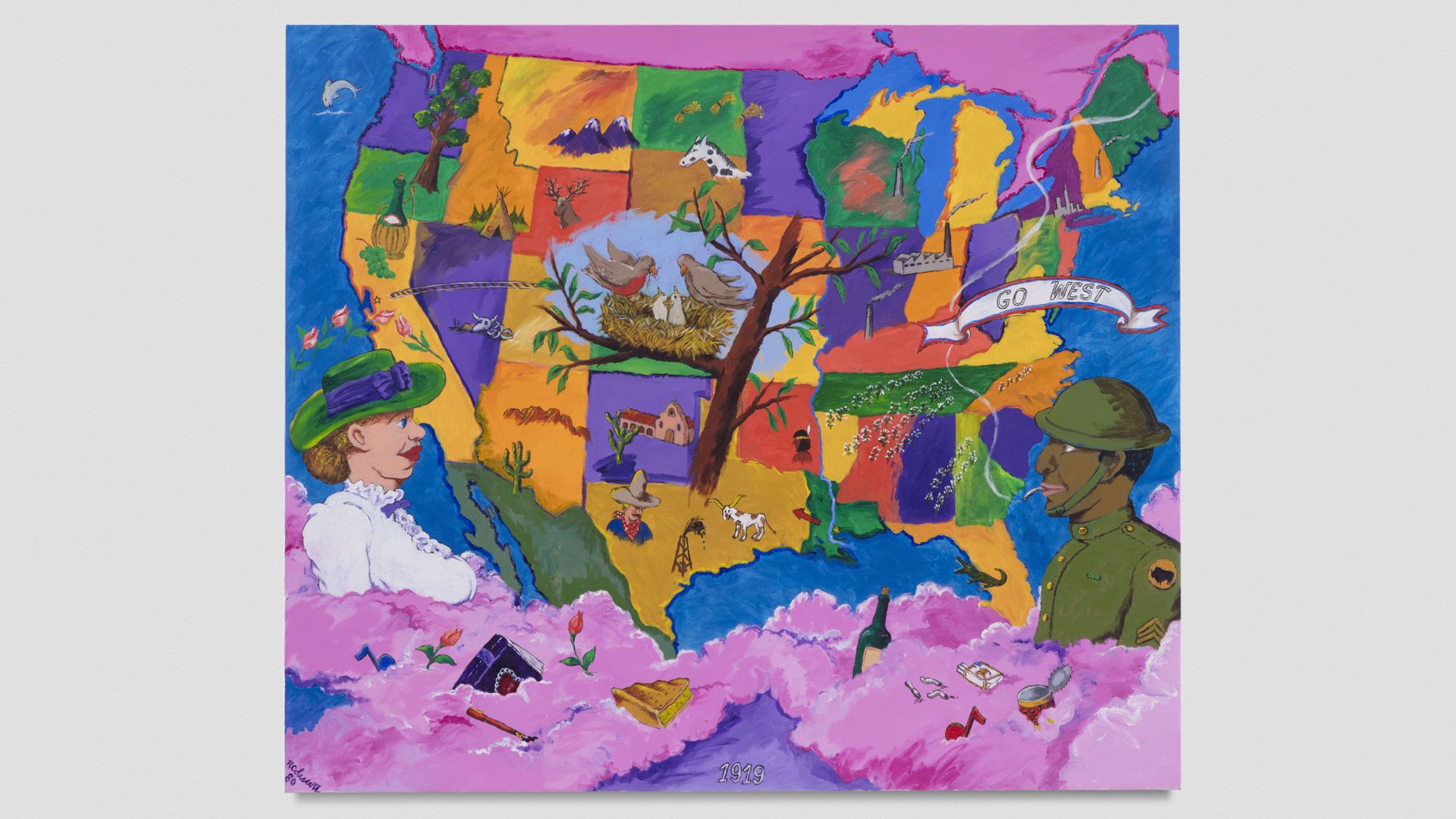 A bright-colored painting by Robert Colescott