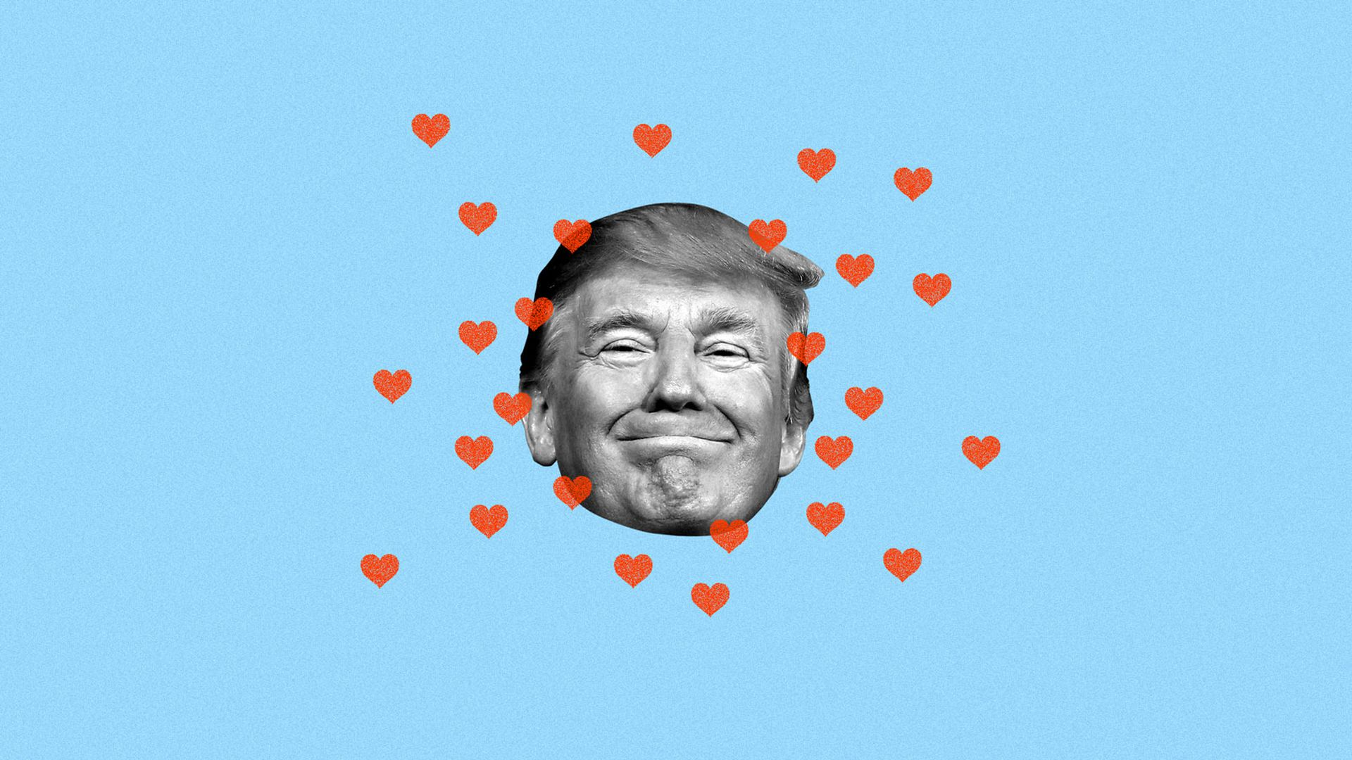 illustration of trump's face with little red hearts around it