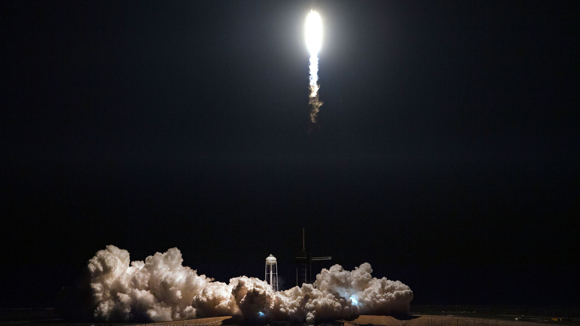 SpaceX Falcon 9 rocket with the company's Crew Dragon spacecraft onboard takes off during the Demo-1 mission, at the Kennedy Space Center in Florida