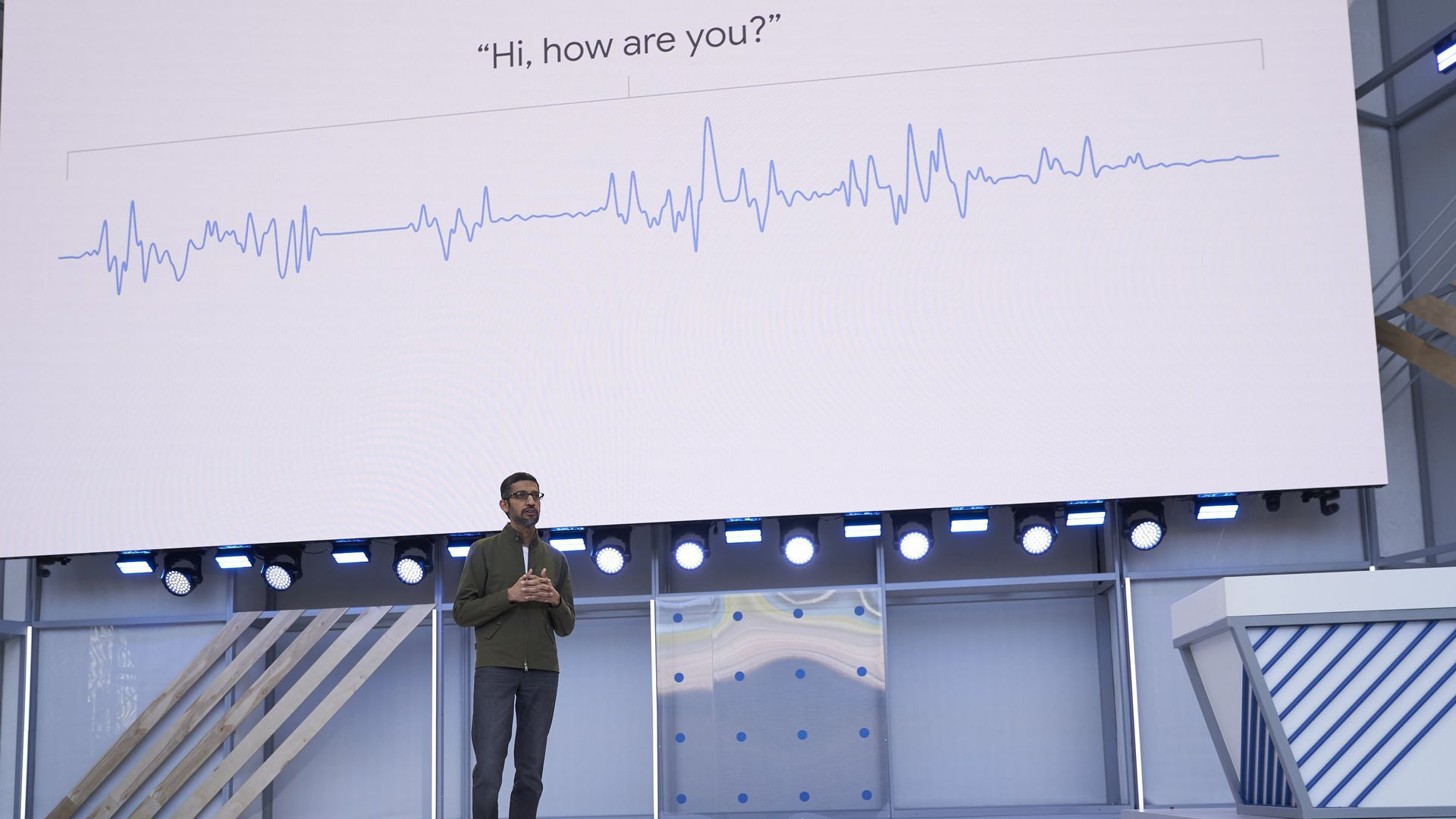 Google CEO Sundar Pichai, showing off the improved voice of the Google Assistant at I/O 2018.