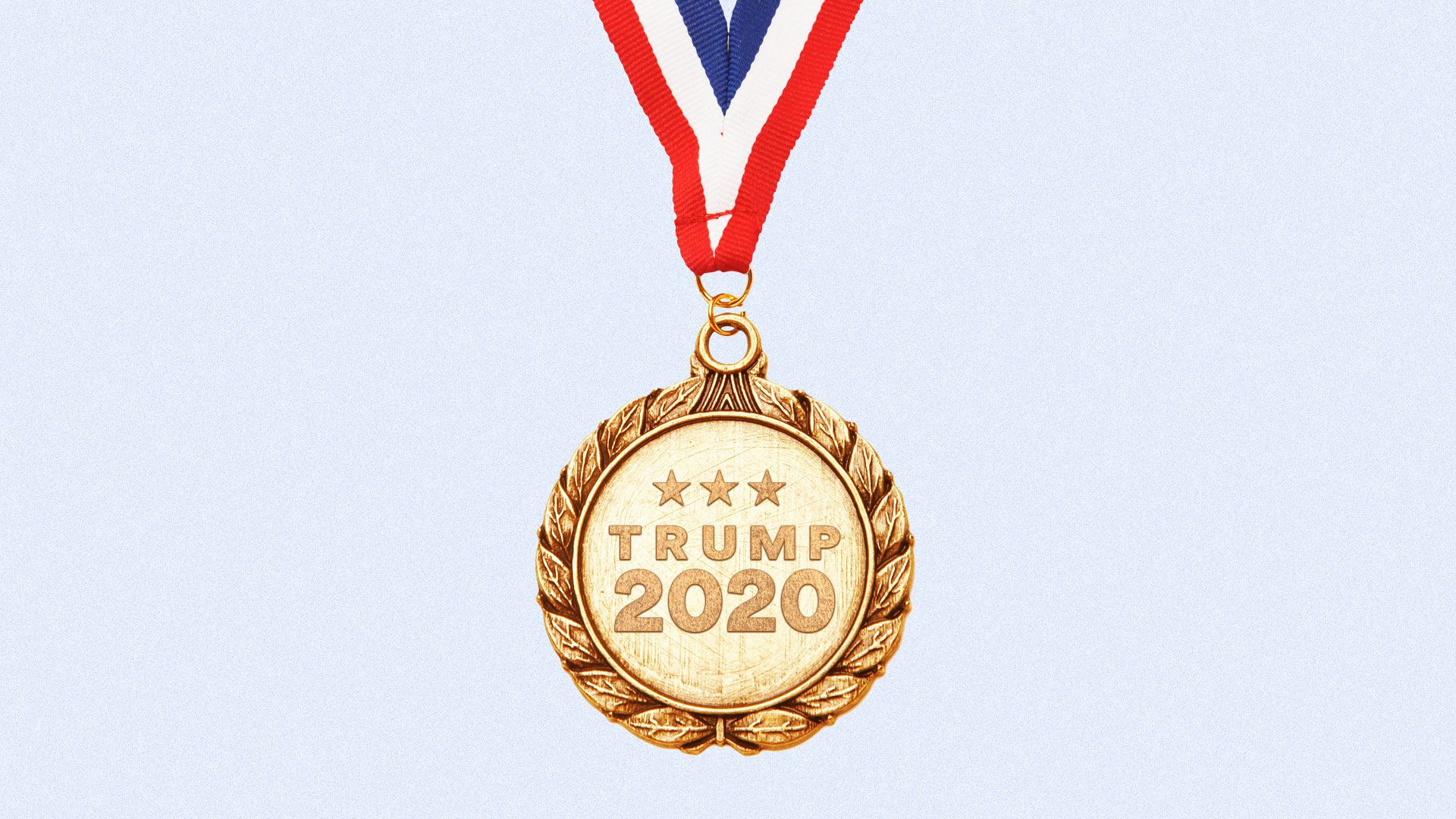 Illustration of a gold medal with Trump 2020.