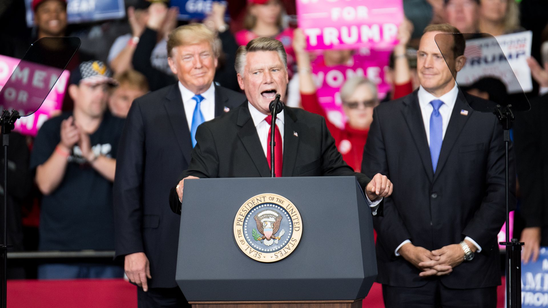 Mark Harris, North Carolina's 9th district Republican candidate at a campaign rally last year.