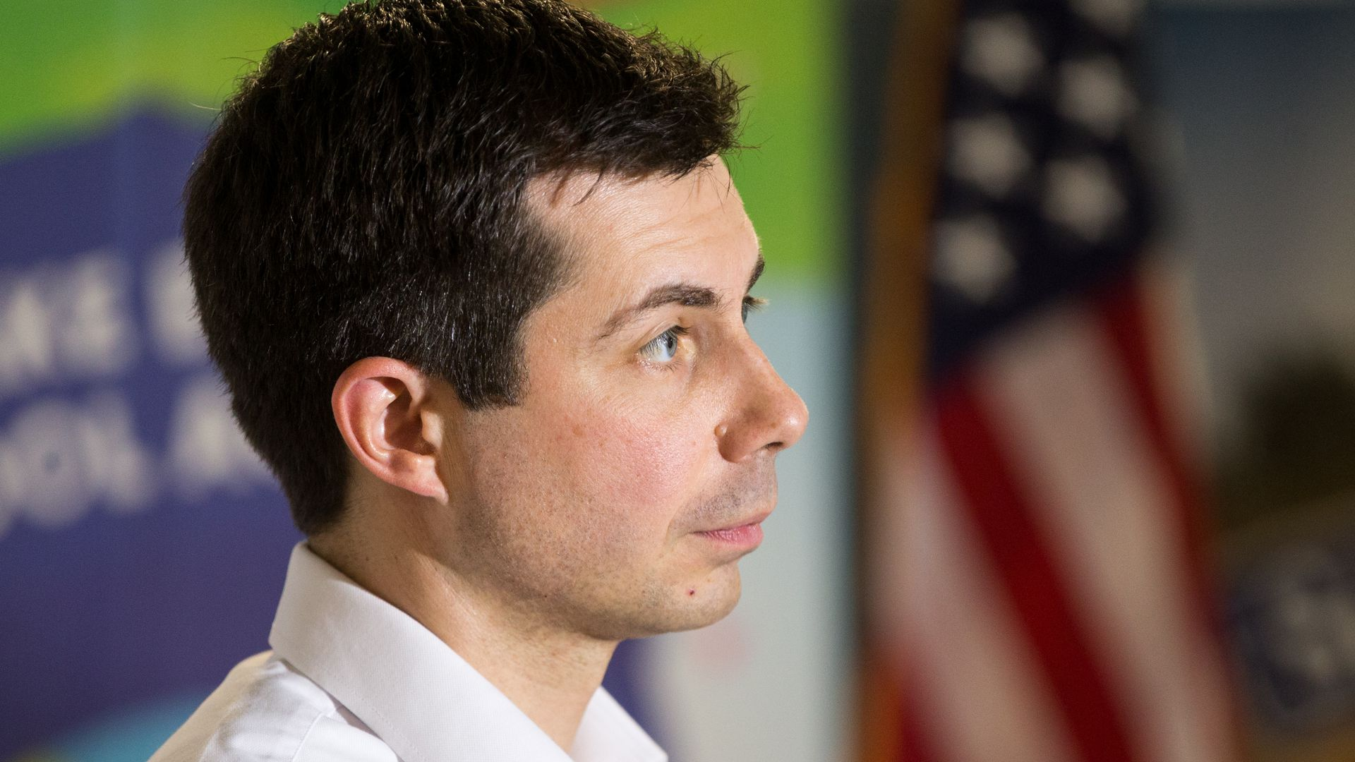 Side angle of Pete Buttigiegs face