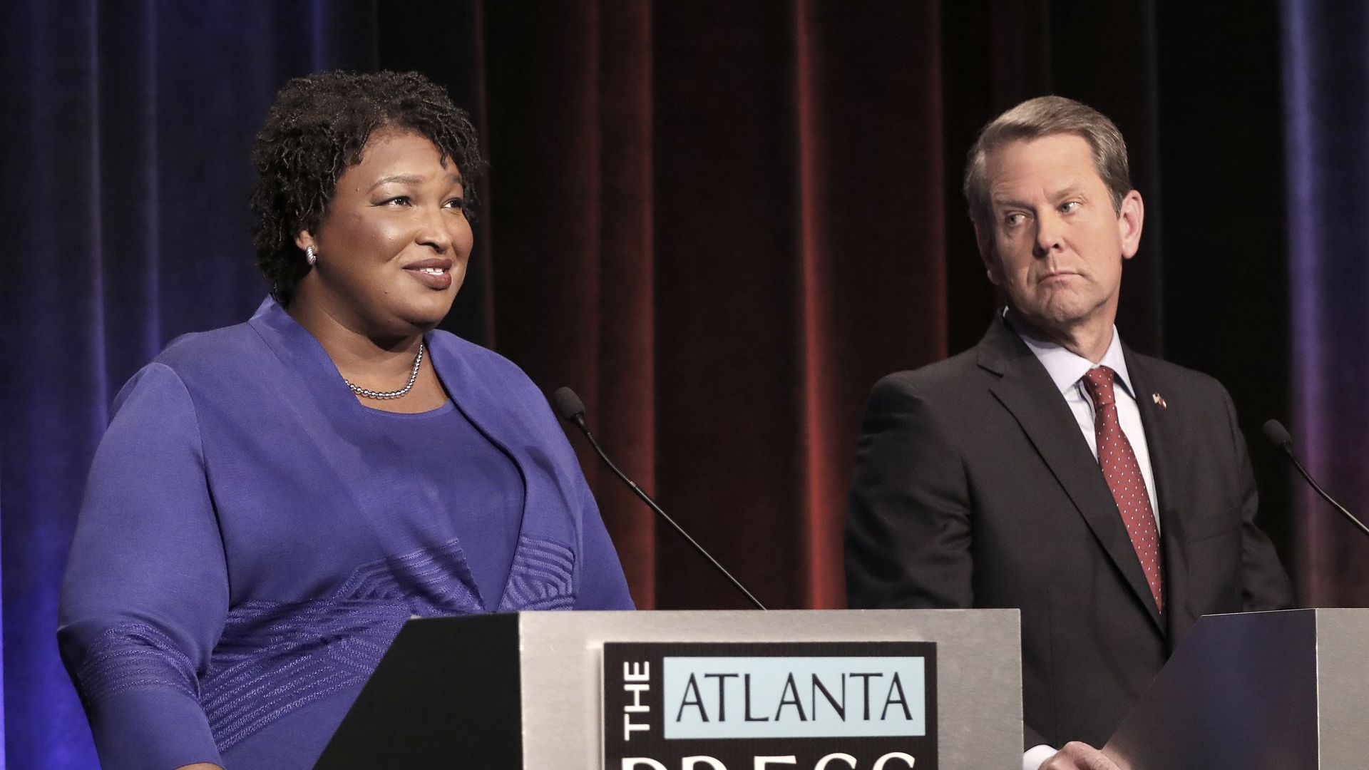 Georgia gubernatorial candidates (L-R) Democrat Stacey Abrams and Republican Brian Kemp debate last week in Atlanta, Georgia. Photo: John Bazemore-Pool/Getty Images