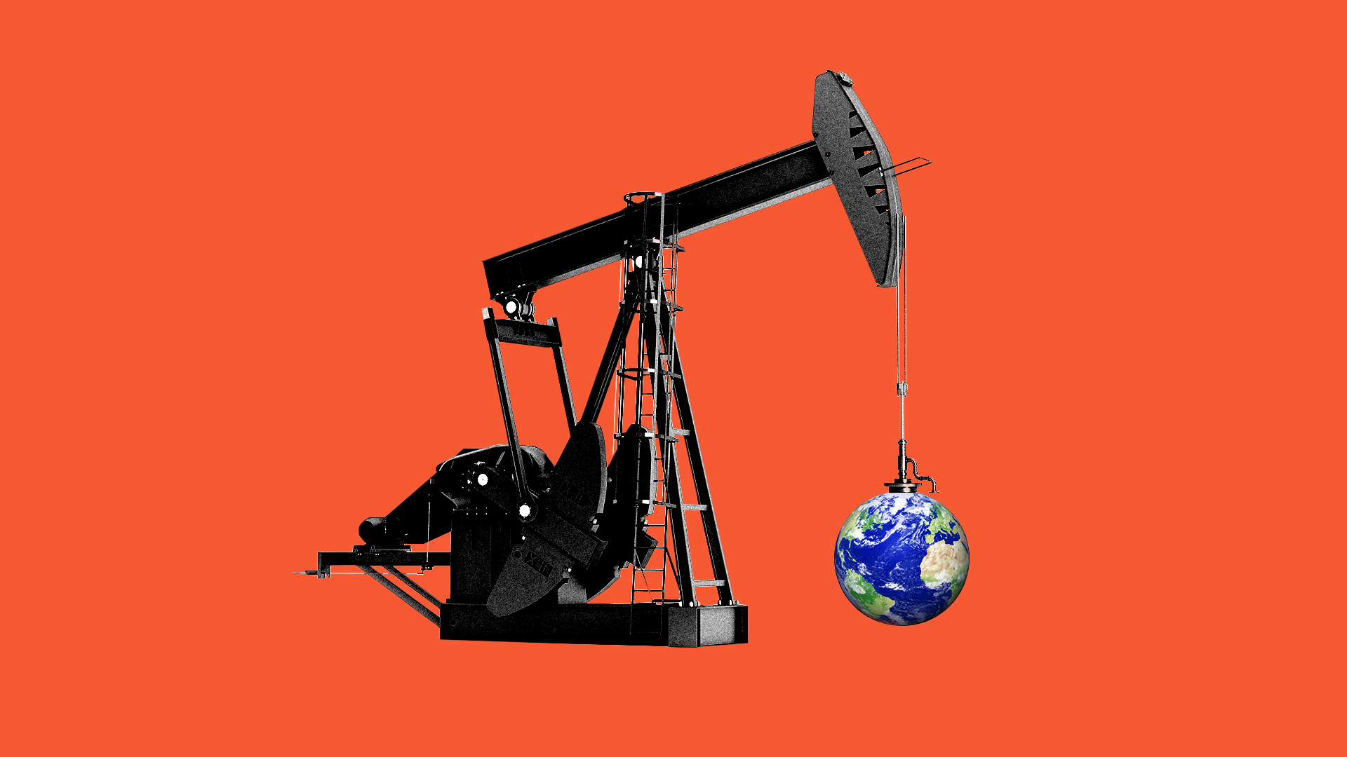 Oil pump jack holding up a planet Earth.