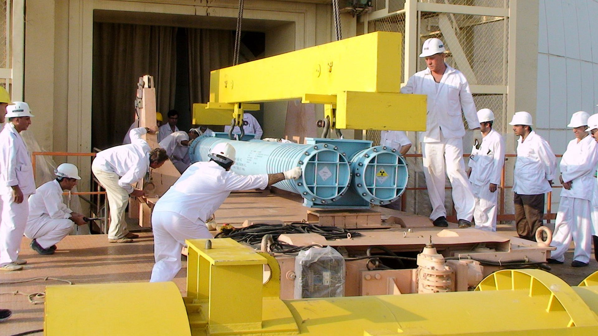 A view of the reactor building at the Russian-built Bushehr nuclear power plant as the first fuel is loaded, on August 21, 2010 in Bushehr, southern Iran.