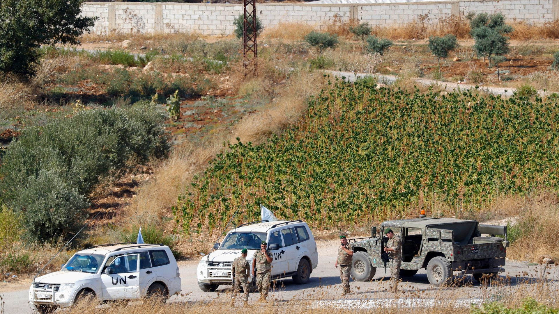 The Lebanese army and United Nations Interim Forces in Lebanon patrolling in the Lebanese village of Aitaroun along the border with Israel.