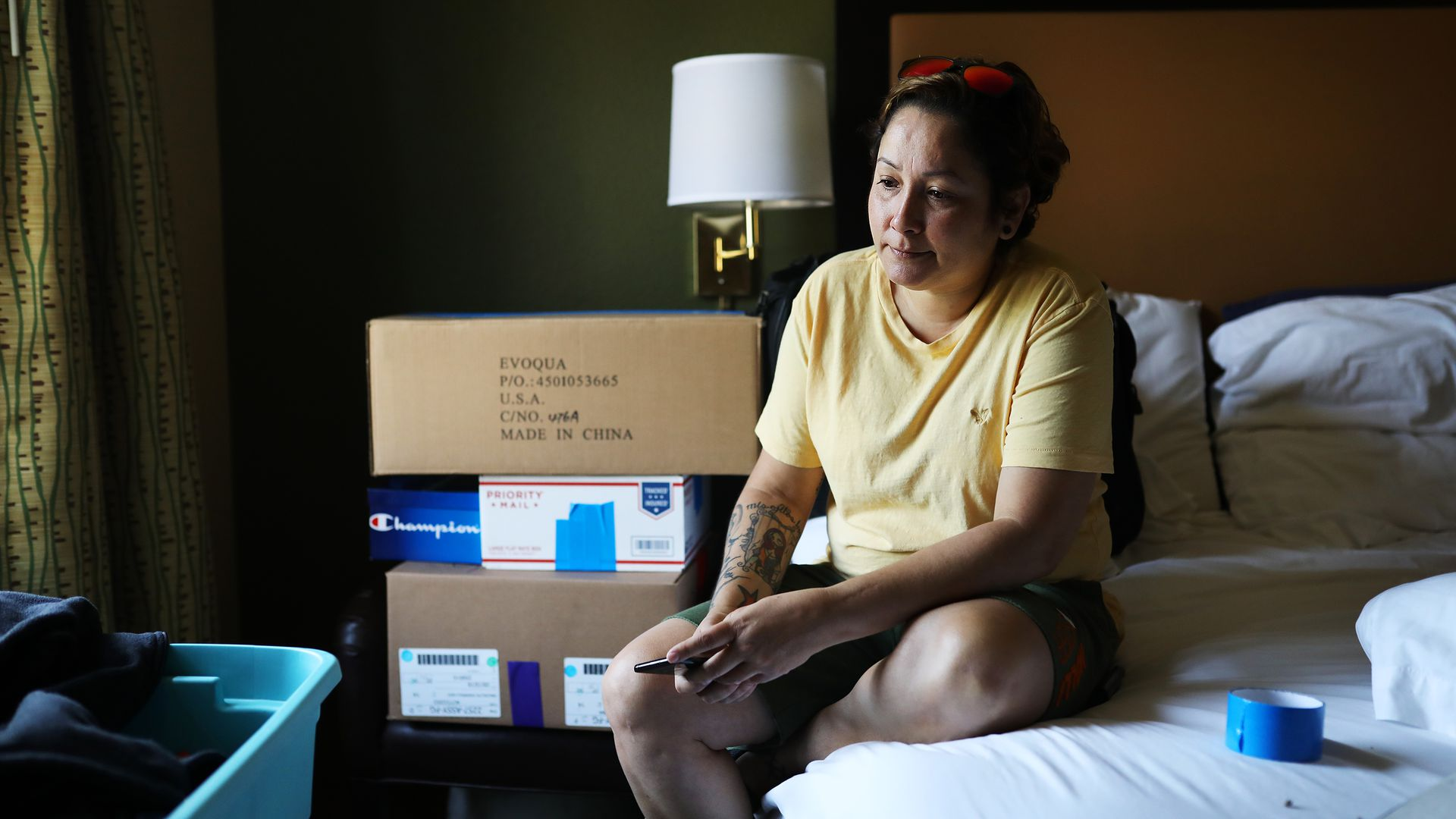 Dagmar Rivera in a hotel room in Tewksbury, MA, where she's been living since Hurricane Maria forced her from her home in Puerto Rico.  Photo: Erin Clark/The Boston Globe via Getty Images