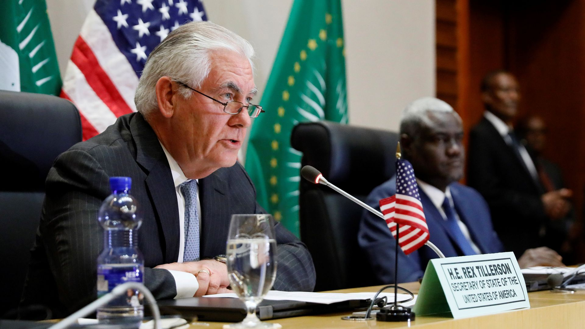 U.S. Secretary of State Rex Tillerson at a news conference with African Union Commission Chairman Moussa Faki of Chad on March 8, 2018, at the AU headquarters in Addis Ababa.