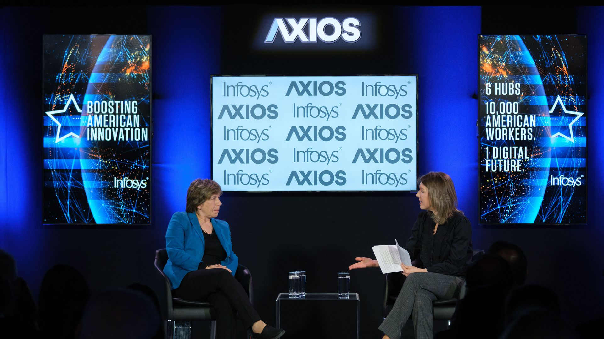 American Federation of Teachers President Randi Weingarten and Axios Managing Editor Kim Hart on the Axios stage