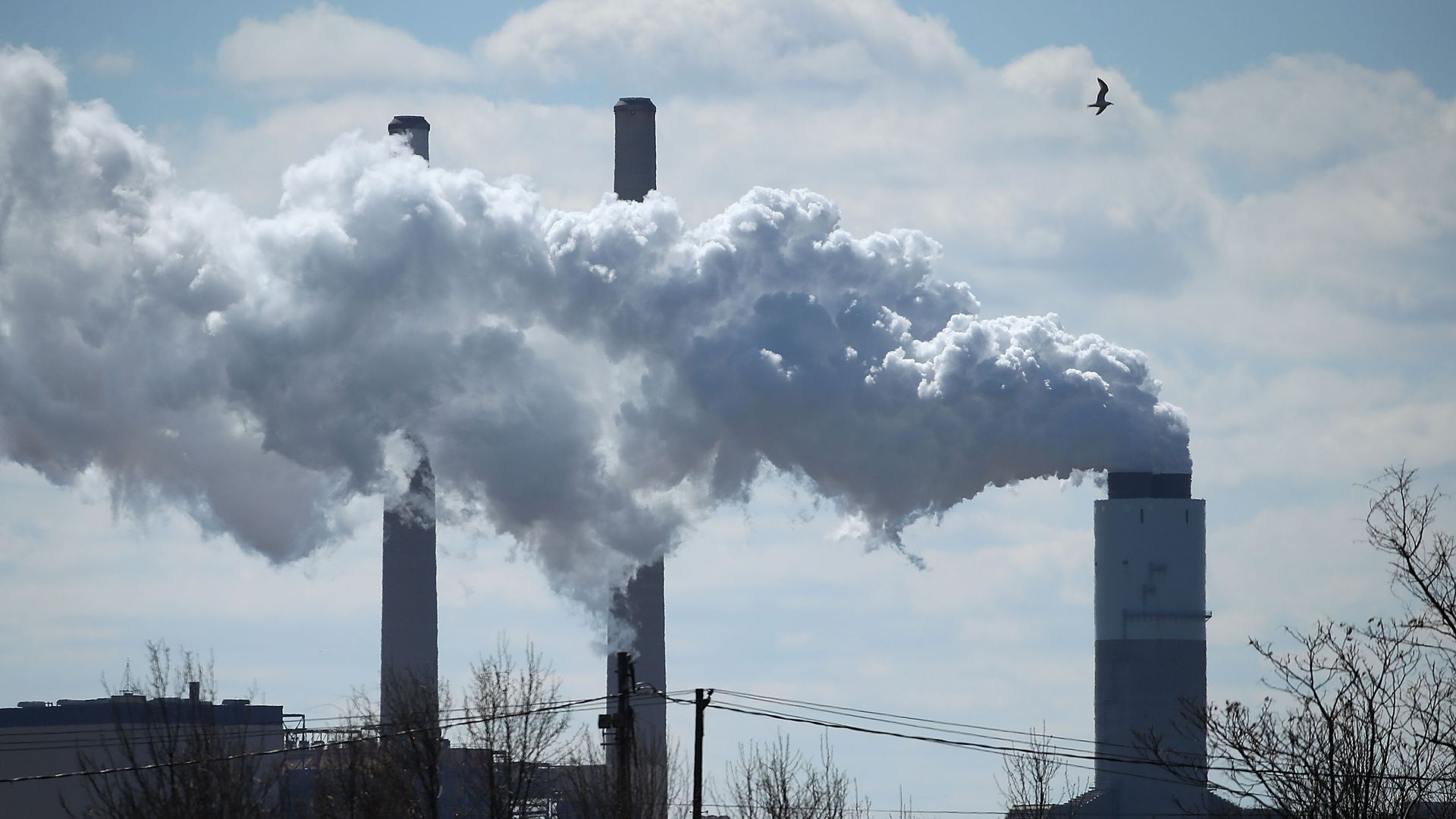 Emissions spew from a coal plant