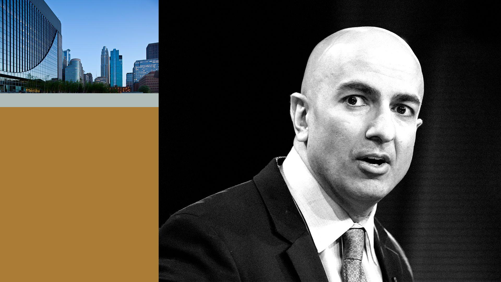 Collage of Minneapolis Fed president Neel Kashari and city imagery