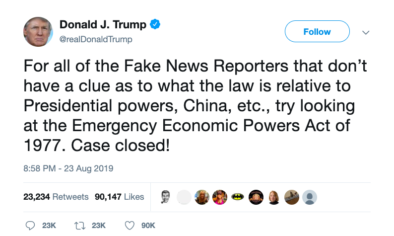A tweet from President Trump invoking the Emergency Economic Powers Act of 1977.