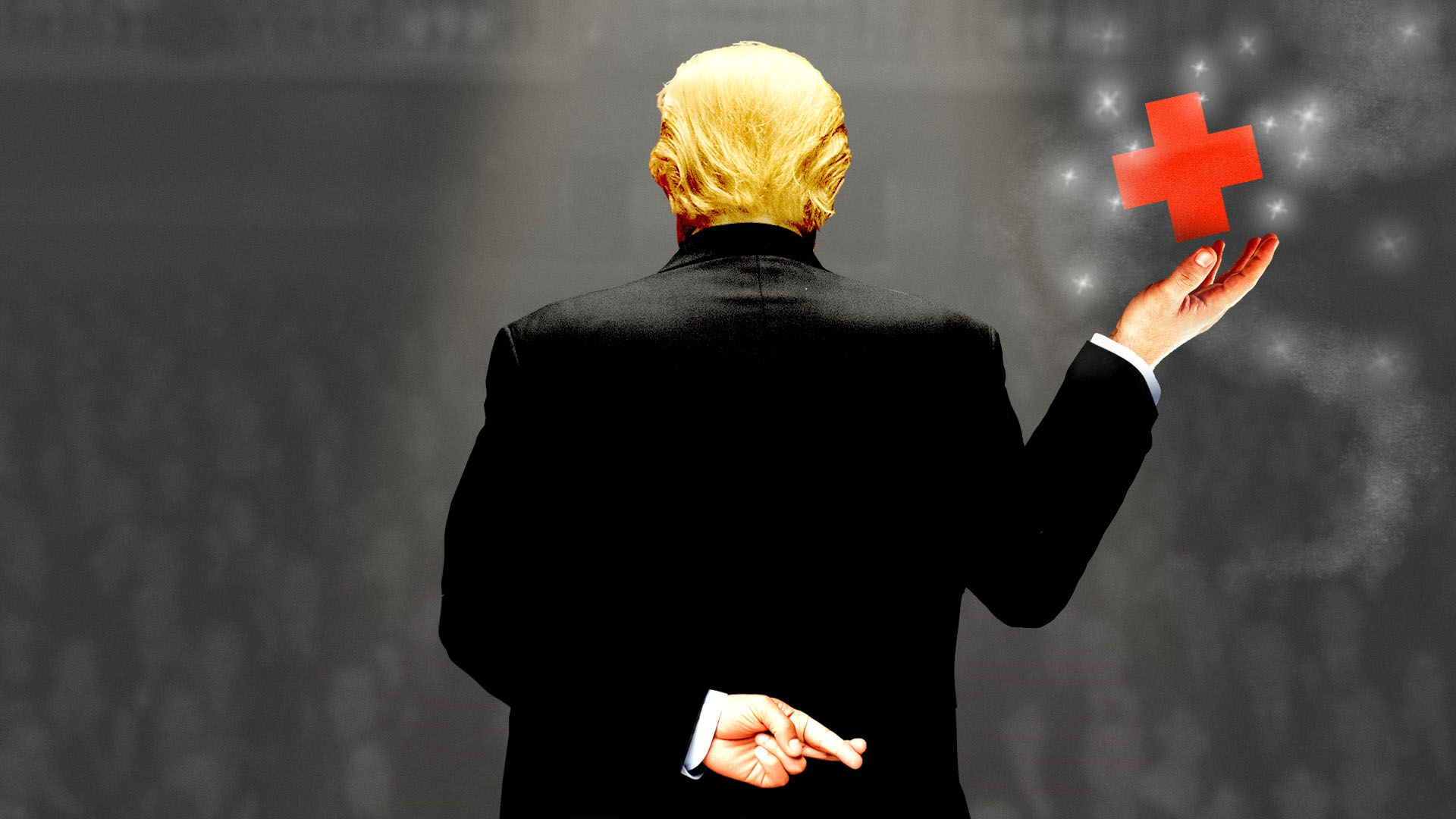 Illustration of President Donald Trump presenting a levitating red cross with his fingers crossed behind his back