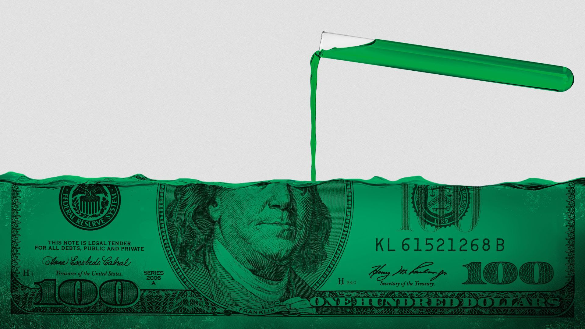 Illustration of a test tube pouring into a hundred dollar bill