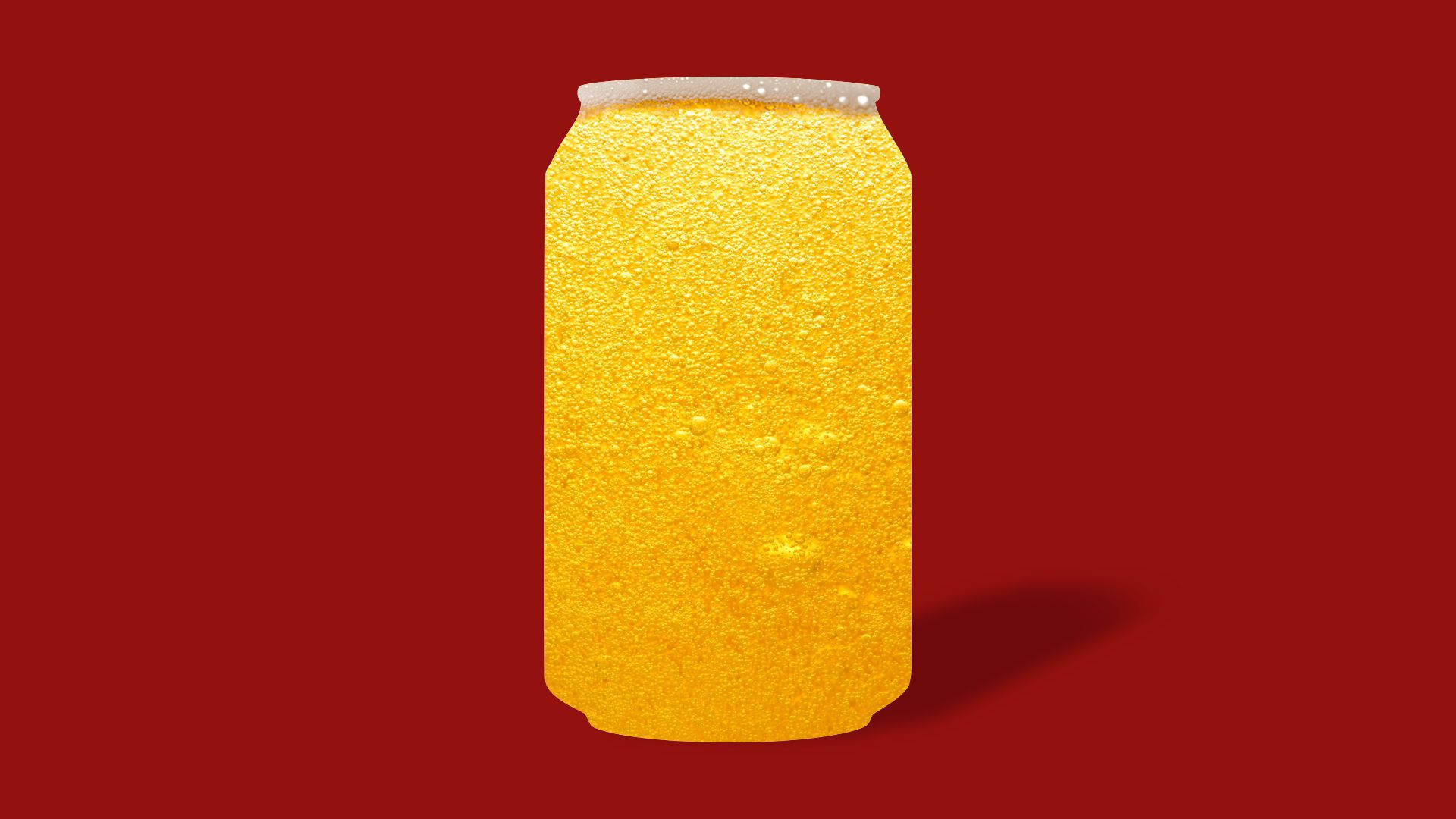 Illustration of beer in the shape of a beer can, but the aluminum can is missing.