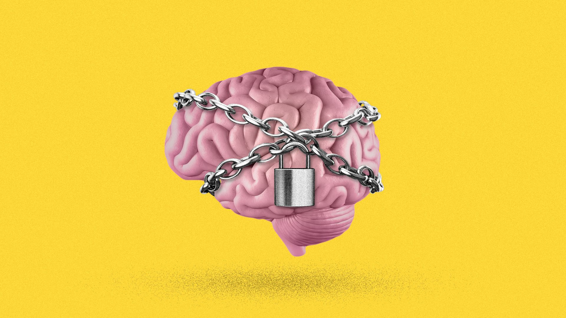 Illustration of a brain wrapped up in a lock and chains.