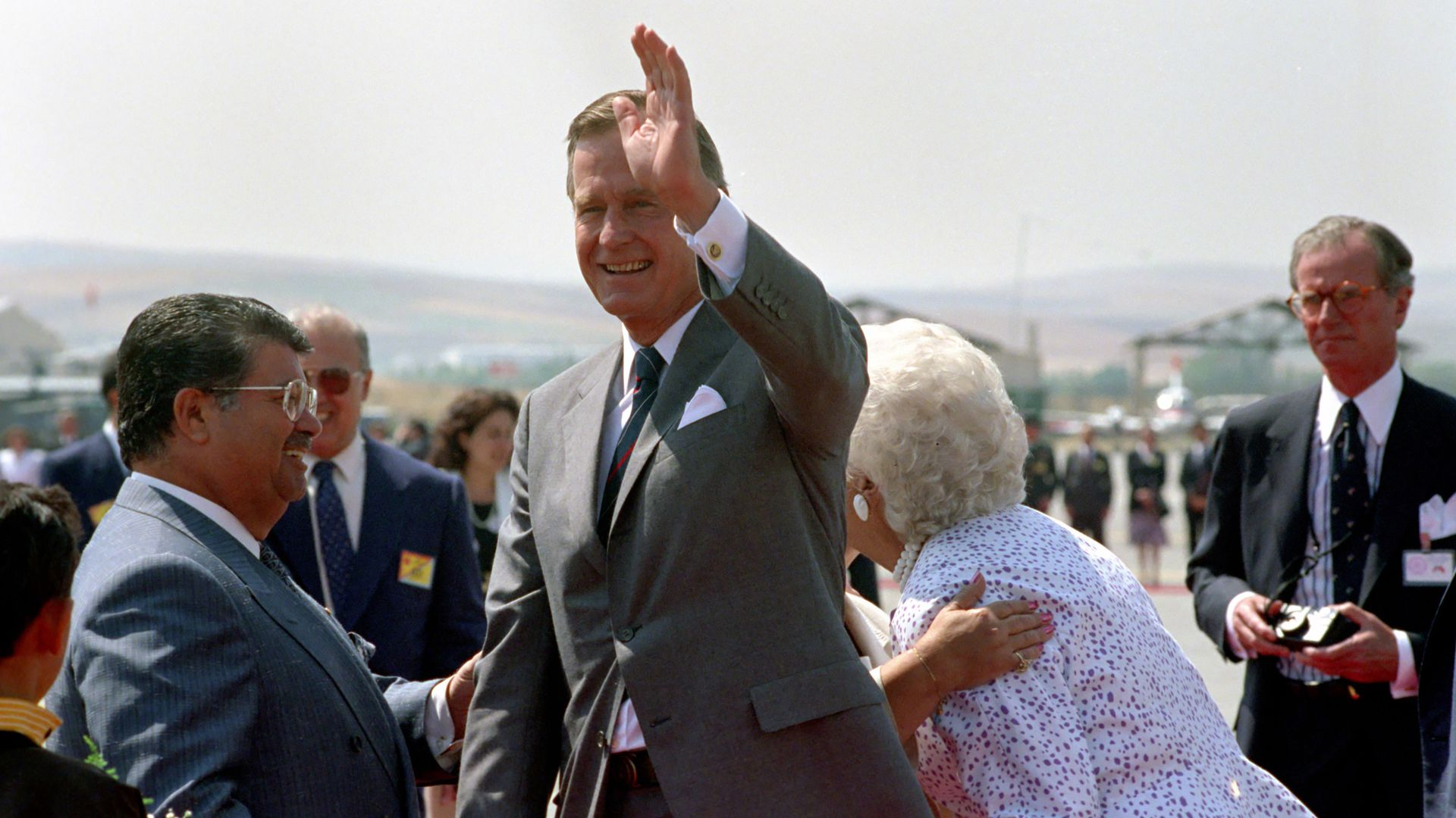 President George H.W. Bush waving.