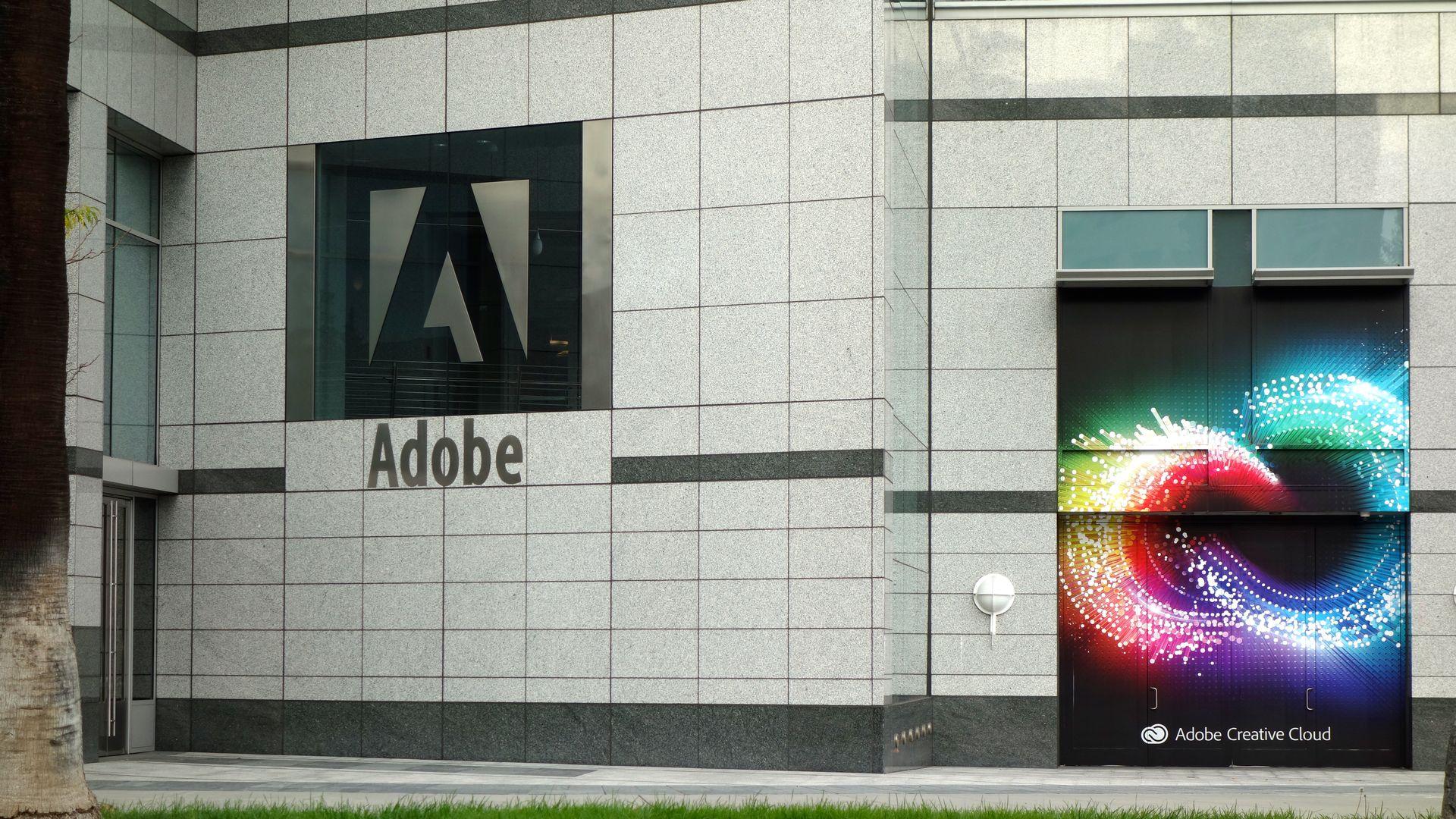 Adobe logo on an exterior wall