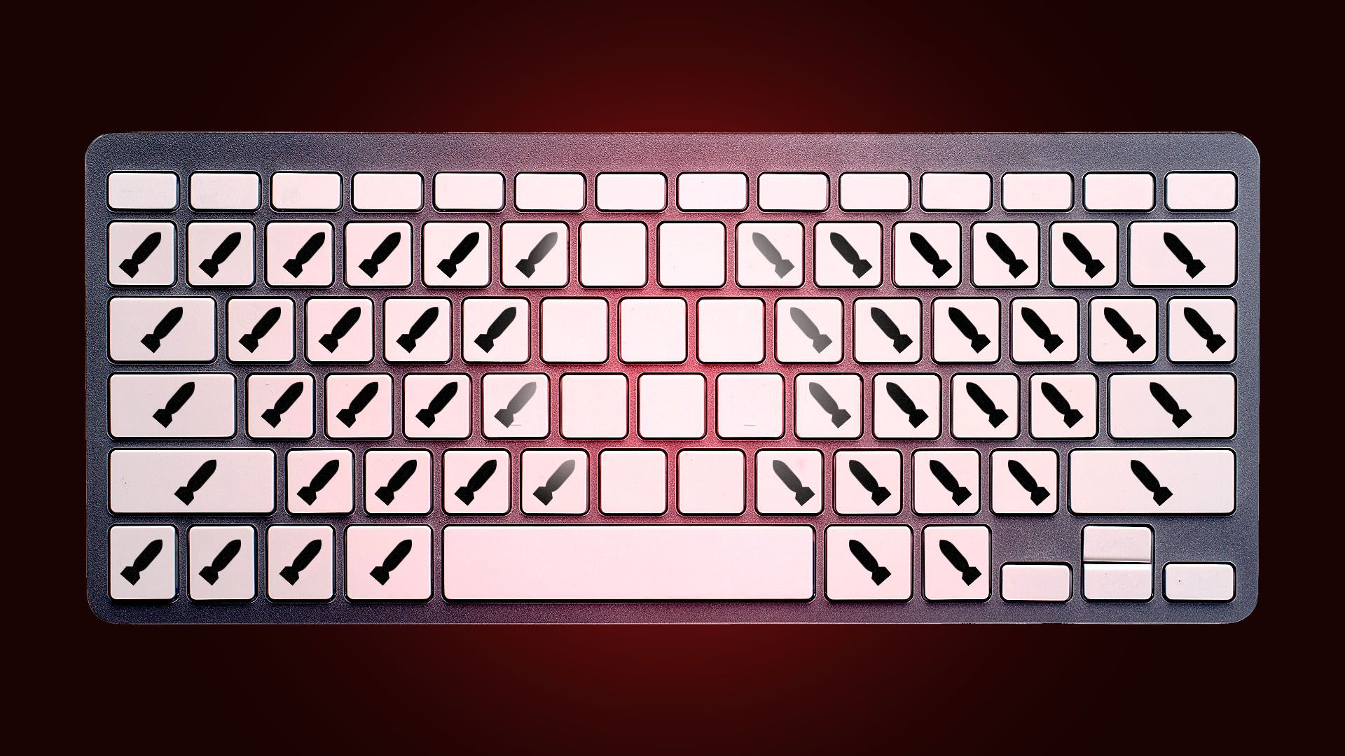 Illustration of a computer keyboard with bomb labels instead of letters