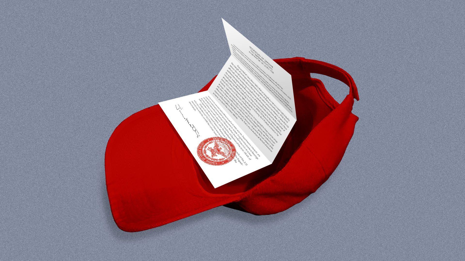 An illustration of Mattis' resignation in a MAGA hat