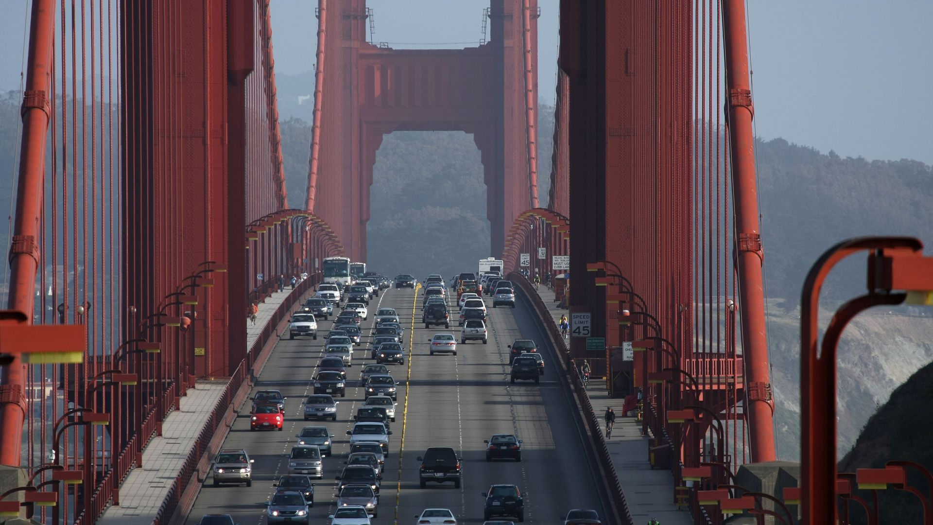 Cars drive northbound on the Golden Gate Bridge May, 8, 2008 in Sausalito, California.
