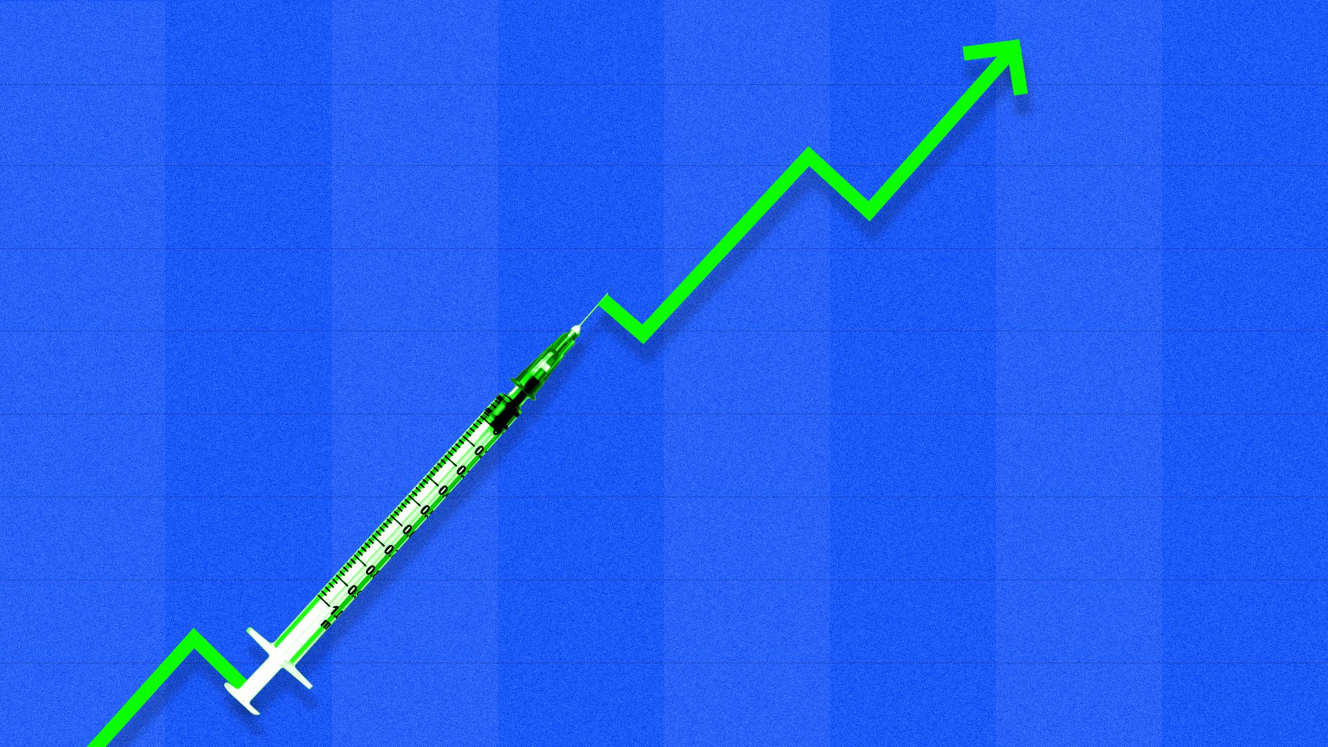 A syringe in an arrow pointing to the upper-right corner of a chart.