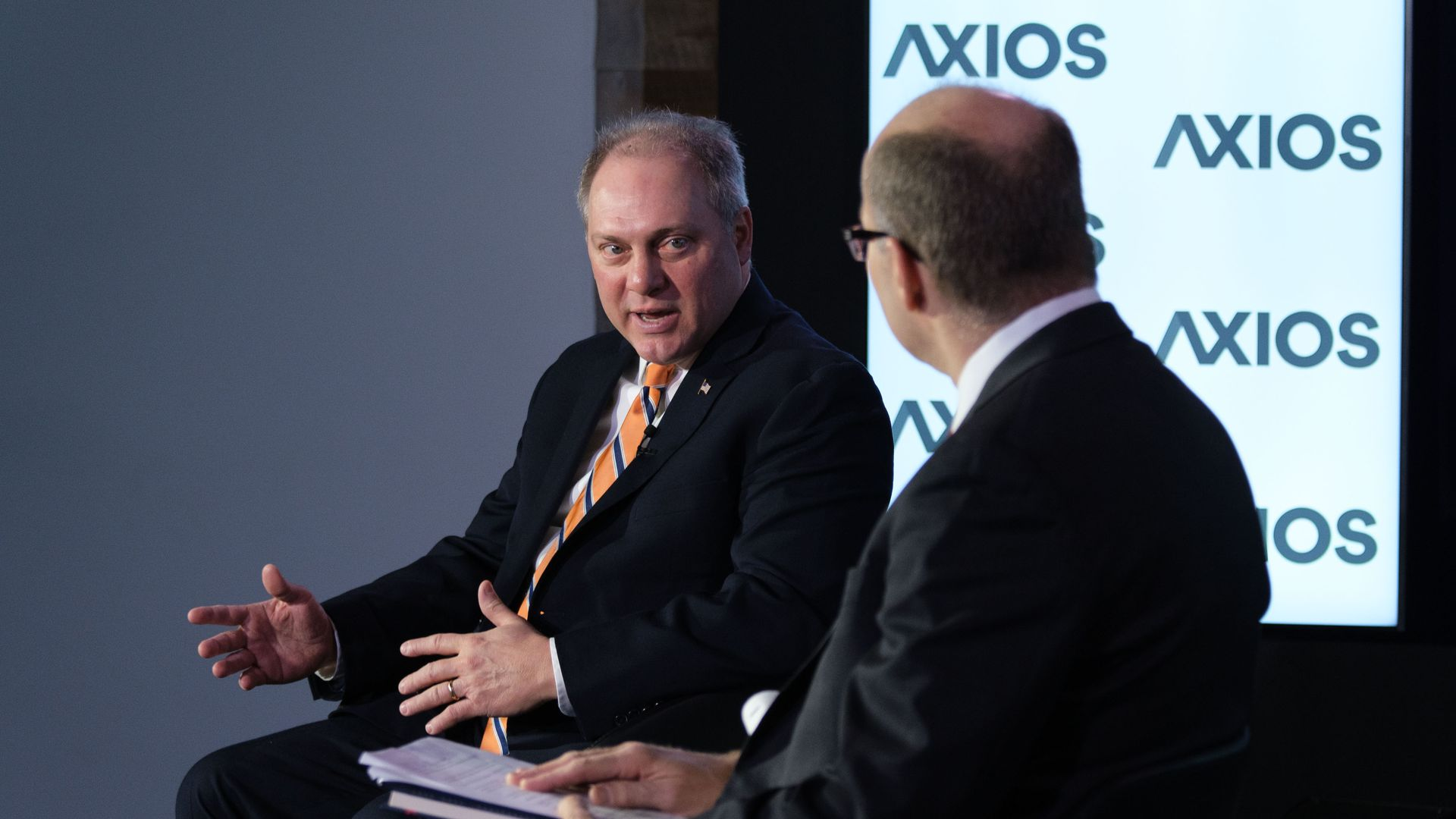 Steve Scalise at an Axios event talking with Mike Allen.
