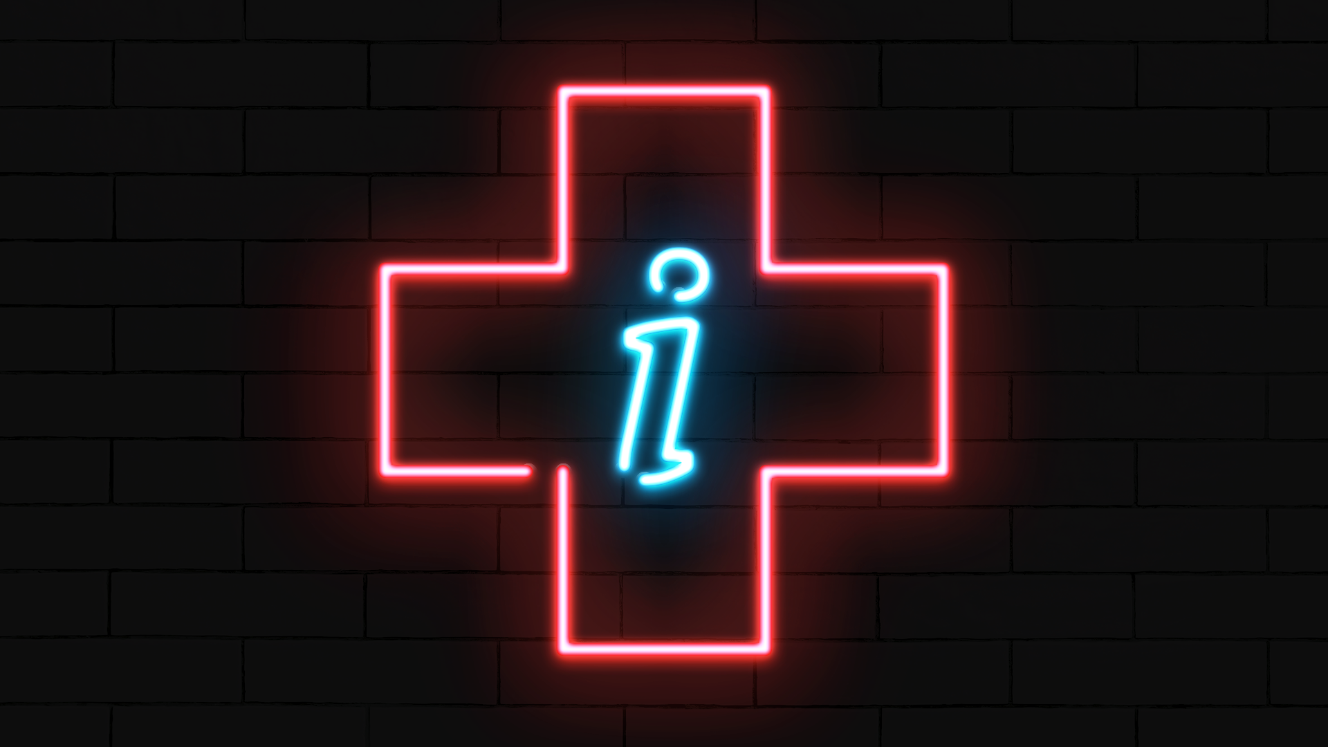 """Illustration of a neon sign in the shape of a health plus with an information """"i"""" in the center."""