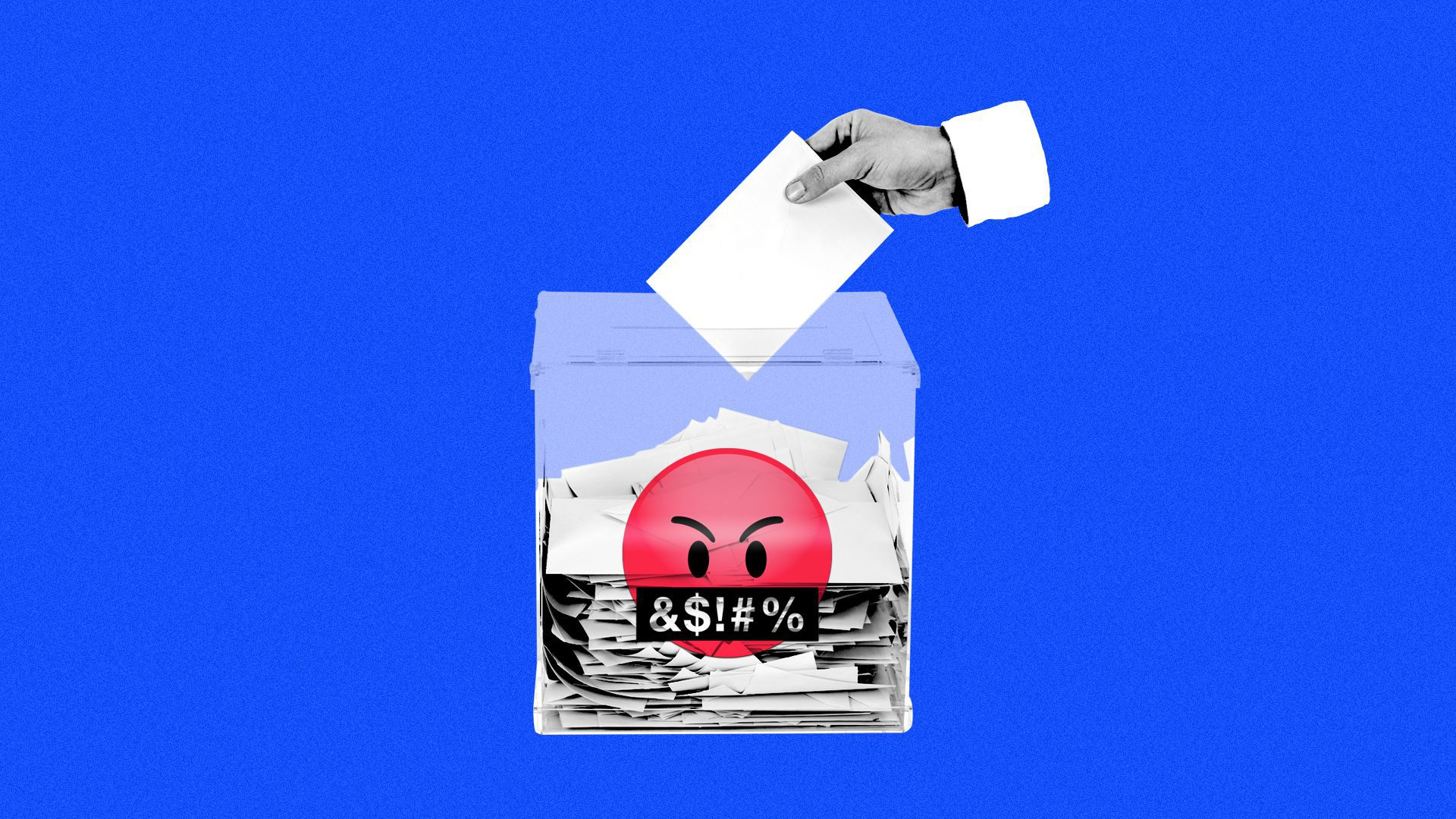 Illustration of a hand putting a message into a complaint box that has a swearing emoji on the front.
