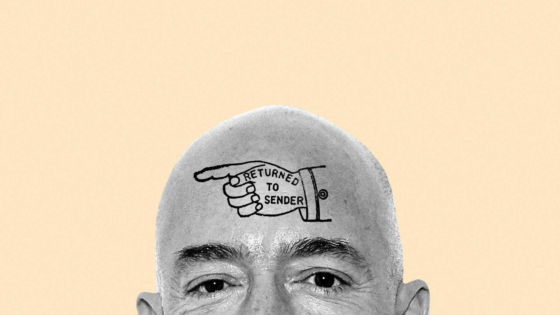 In this image, only the forehead of Jeff Bezos is visible. On his forehead, a cartoon illustration that says 'return to sender' is displayed.