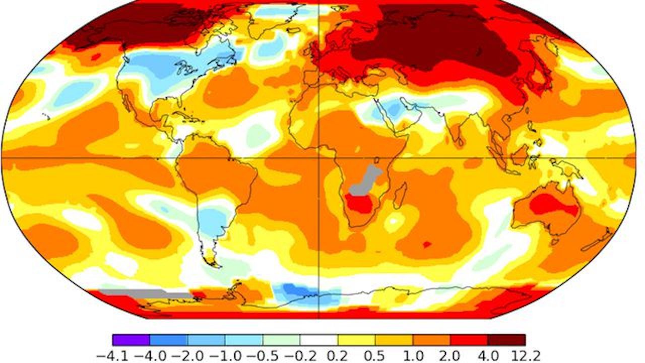 NASA image of temperature anomalies on Earth in March