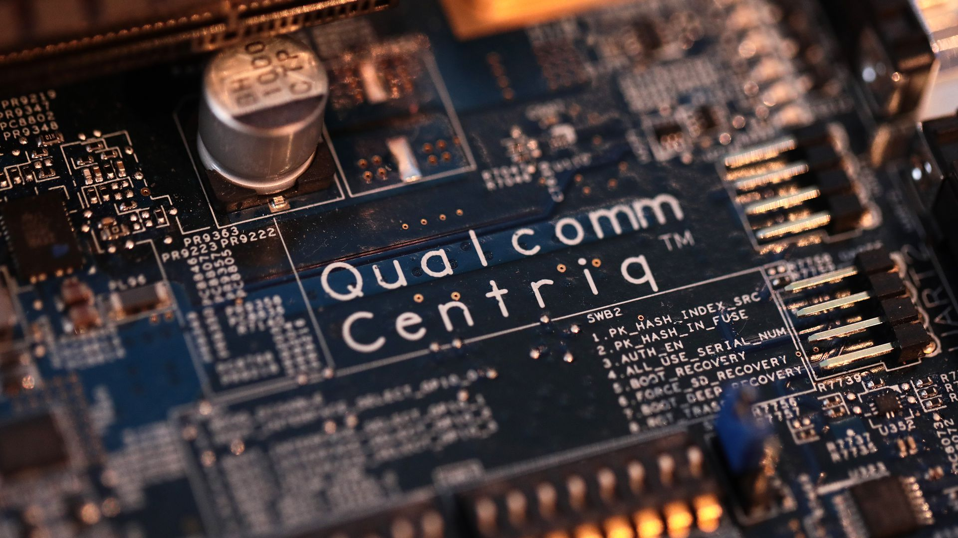 A close-up shot of a Qualcomm chip