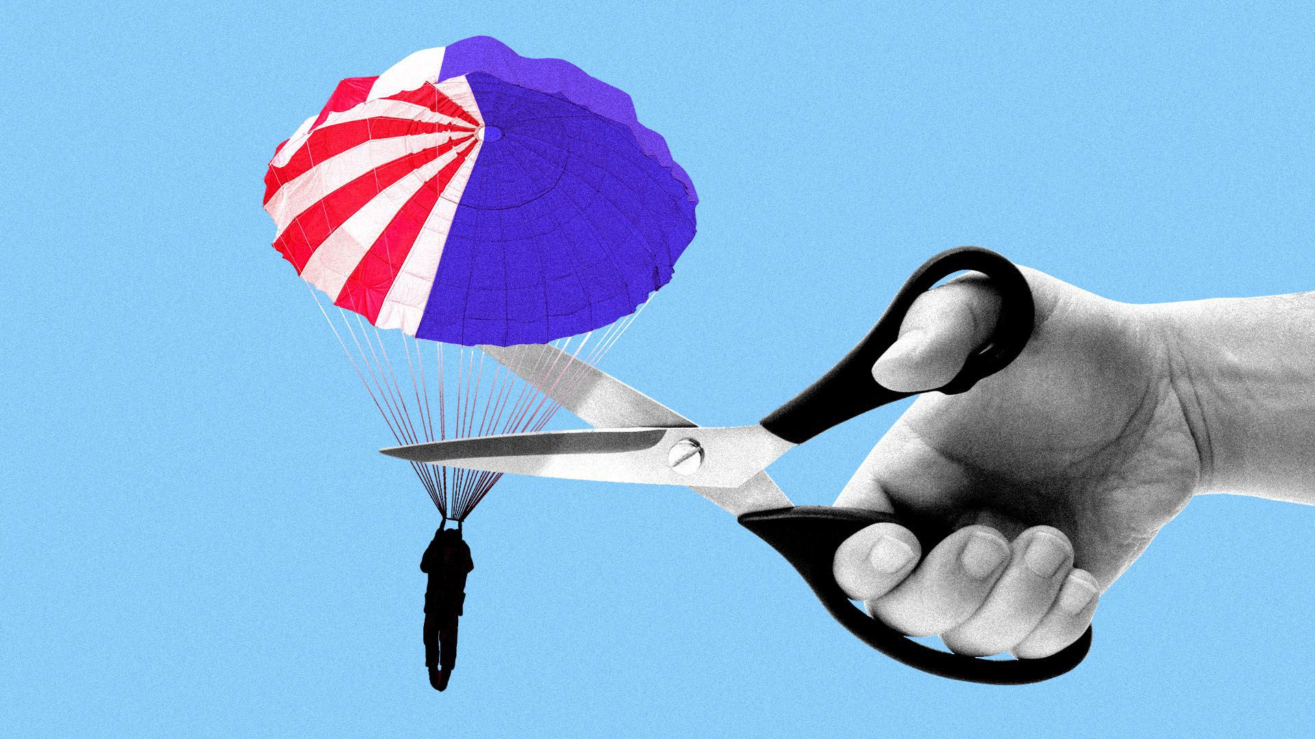 Illustration of scissors snipping a man with a parachute