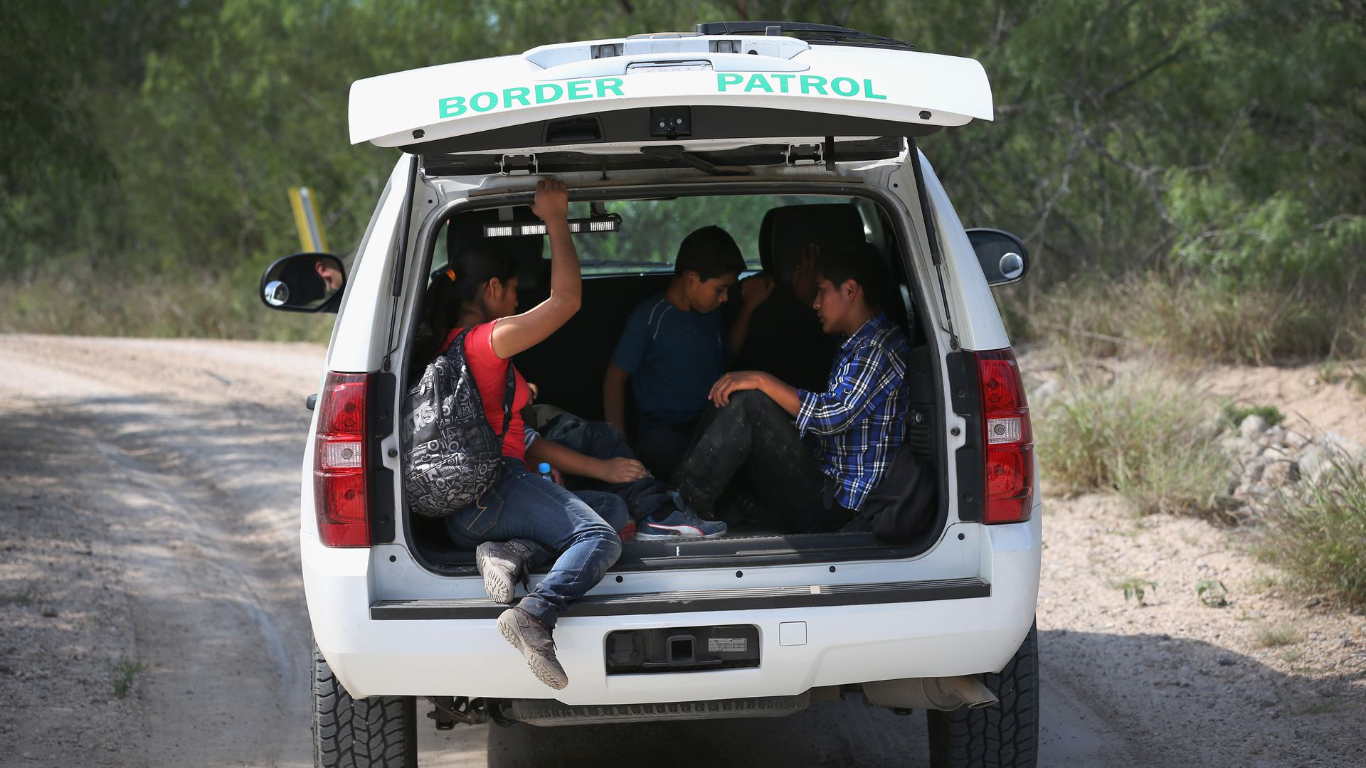 Central American children being transported for processing by the U.S. Border Patrol after they crossed the souther border.
