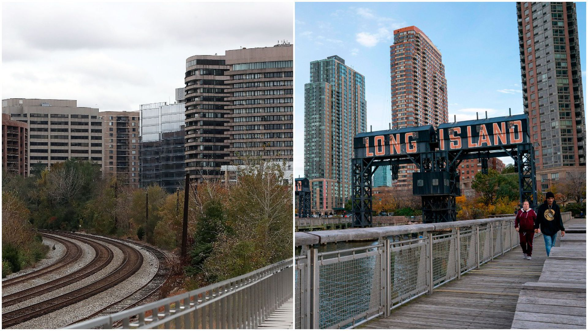Split pictures of Crystal City and Long Island City
