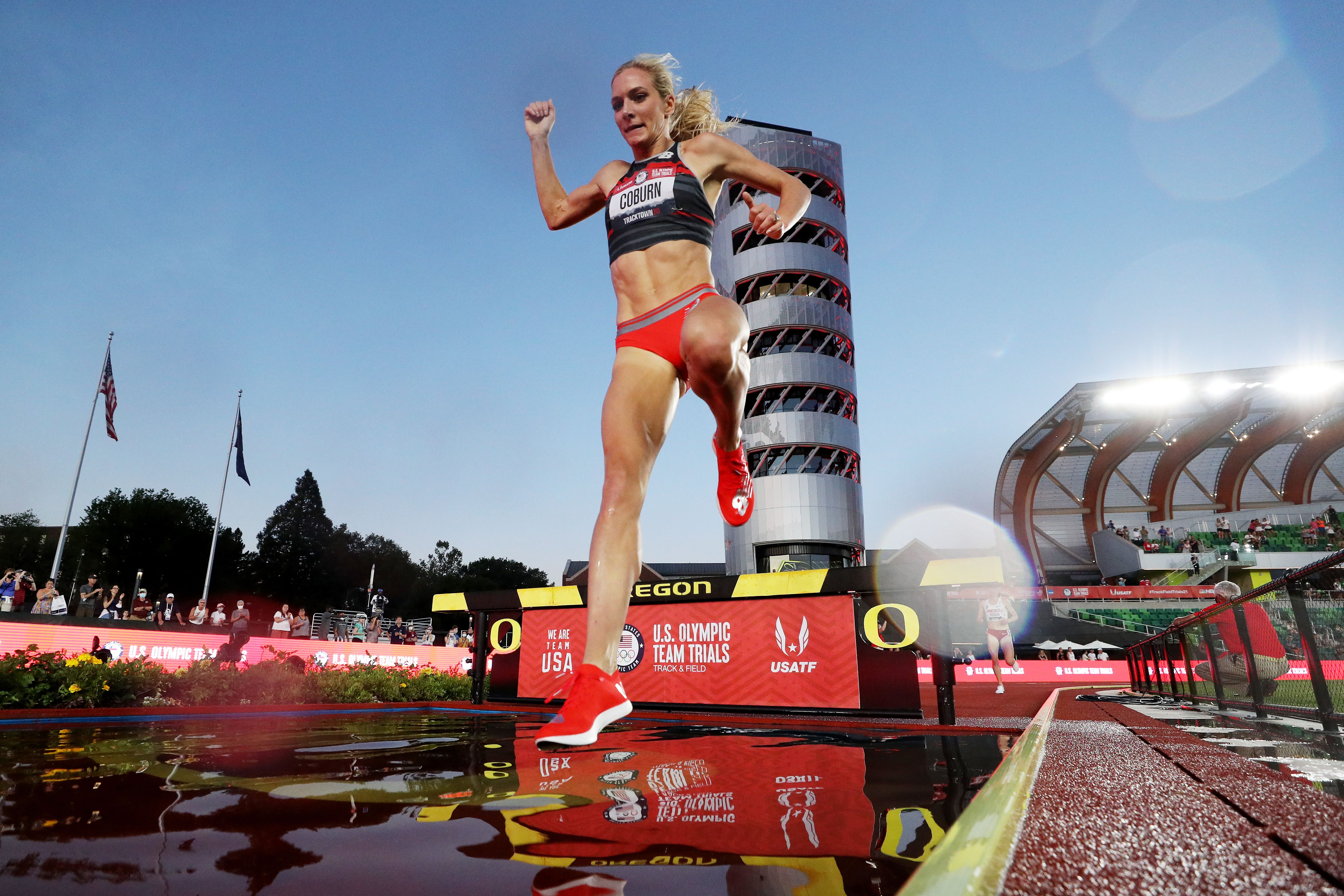 Emma Coburn in June at the U.S. Olympic trials in Oregon. Photo: Patrick Smith/Getty Images