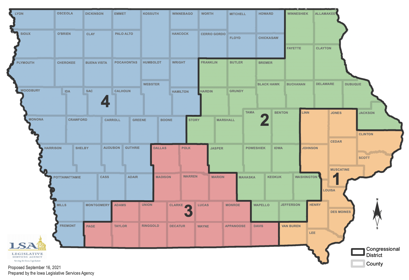 A map of the rejected proposal for redistricting.