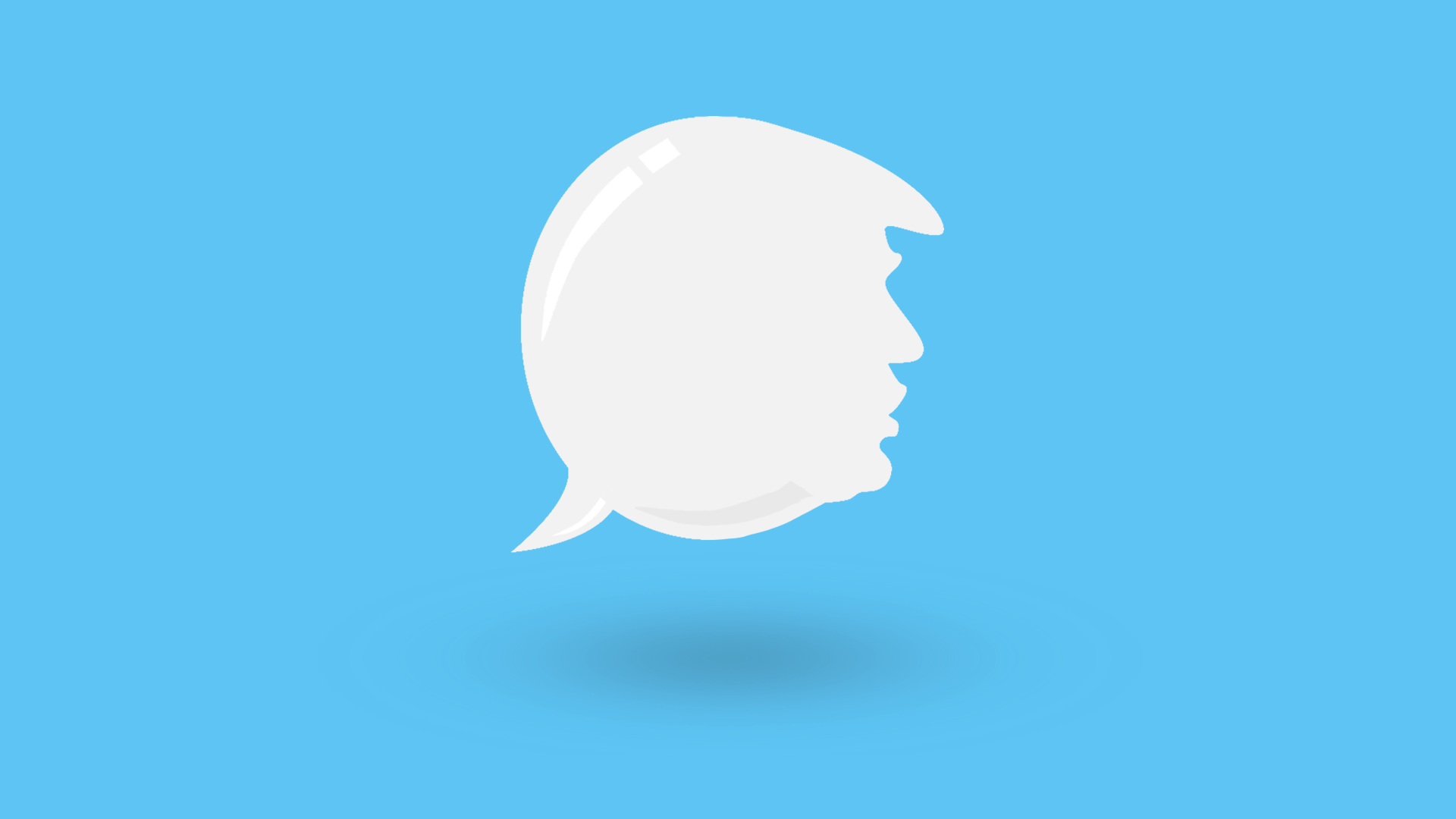Illustration of a speech bubble in the shape of President Trump's head