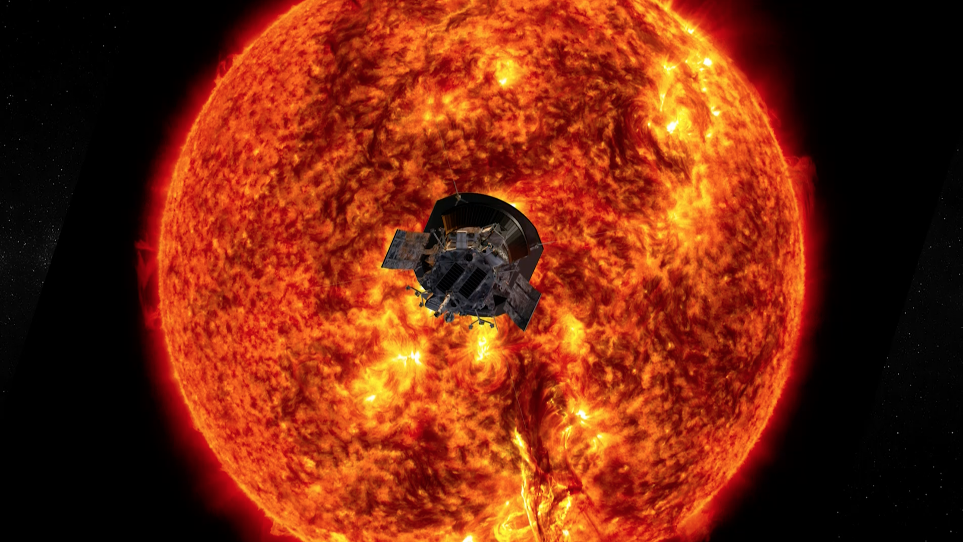 Illustration of the Parker Solar Probe in front of the Sun