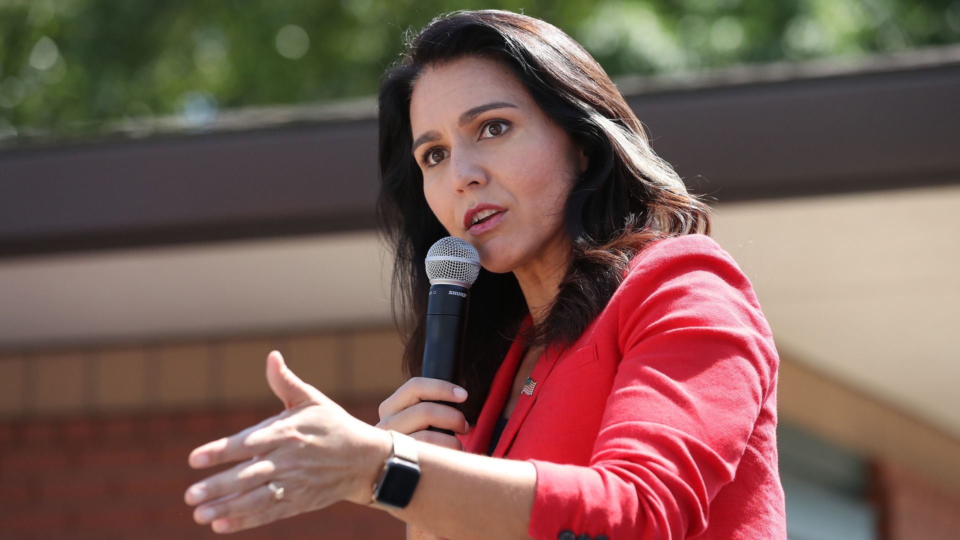 Democratic presidential candidate Rep. Tulsi Gabbard (D-HI) delivers a campaign speech at the Des Moines Register Political Soapbox during the Iowa State Fair