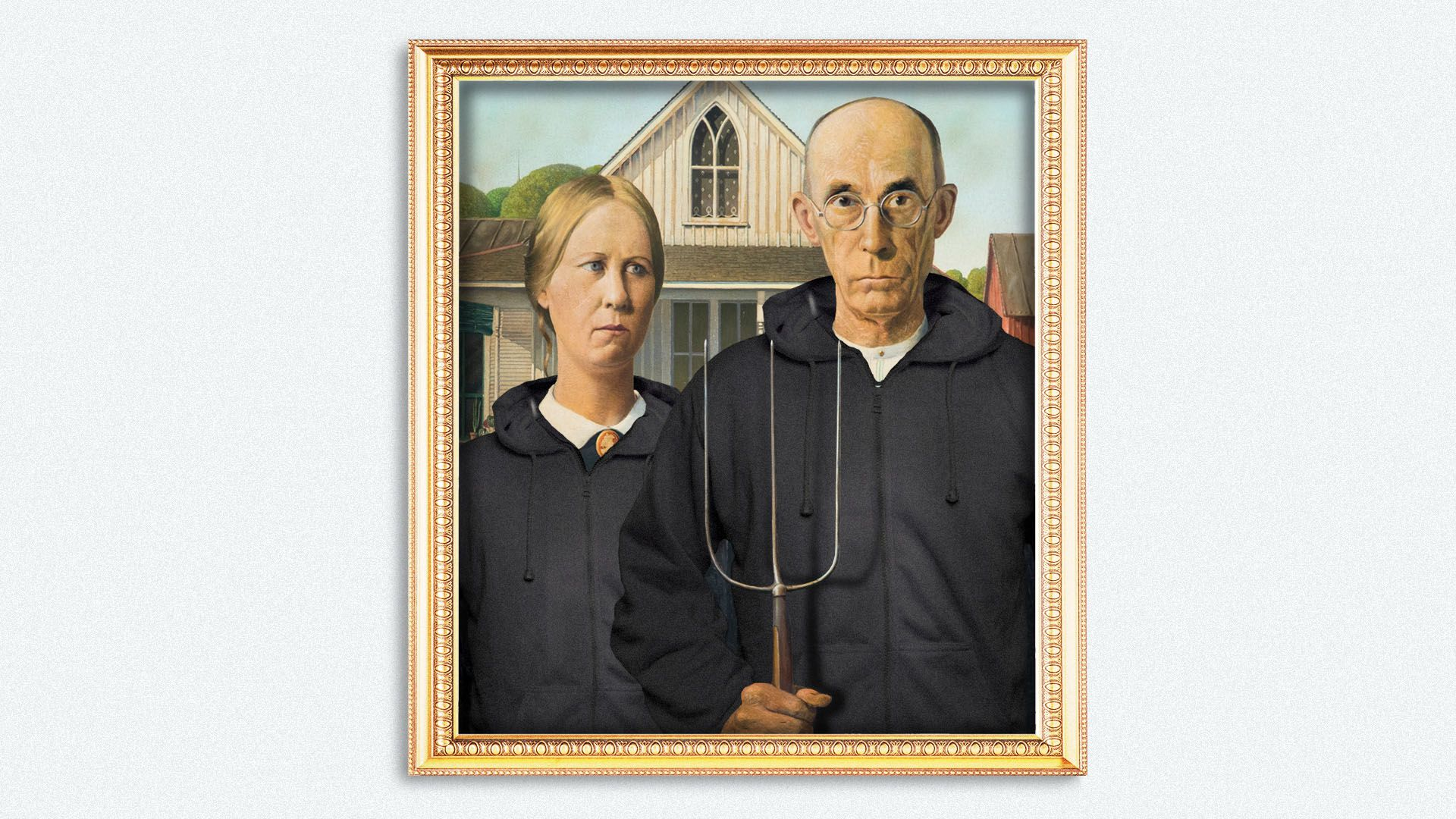 llustration of the painting American Gothic with the subjects wearing hoodies.