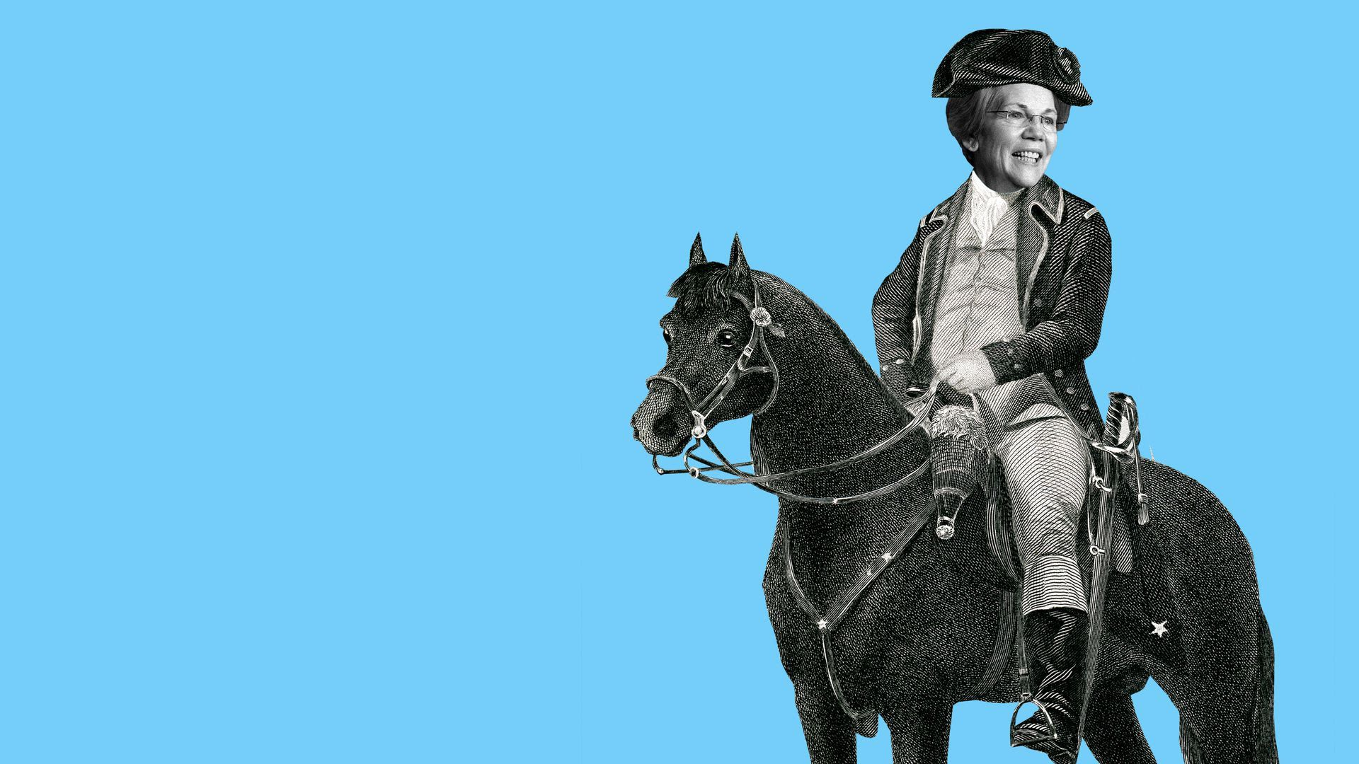 Illustration of Elizabeth Warren in colonial attire riding a horse.