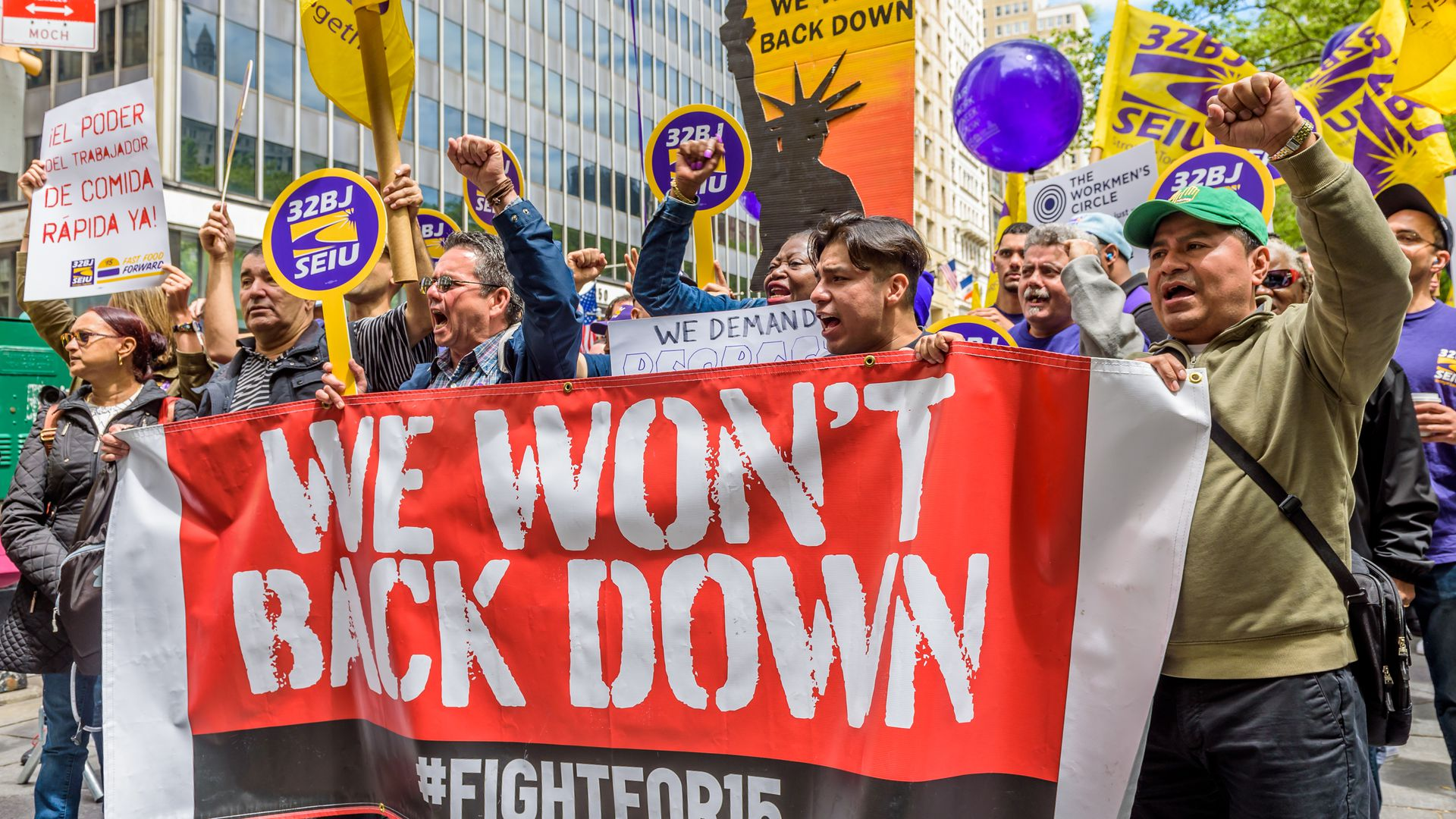 Ahead of an expected New York City Council vote, fast-food workers, cashiers, cooks, delivery people and their supporters held a rally outside New York City Hall.
